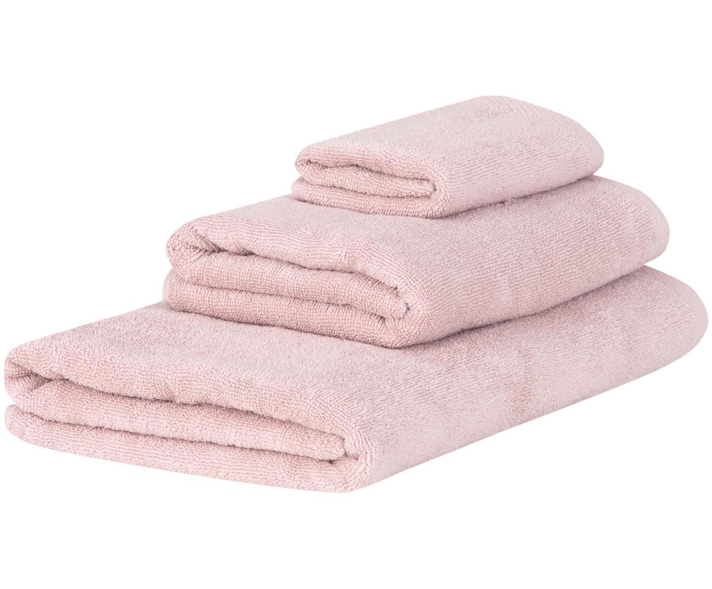 Set de toallas Comfort, 3pzas., Rosa palo, Tamaños diferentes