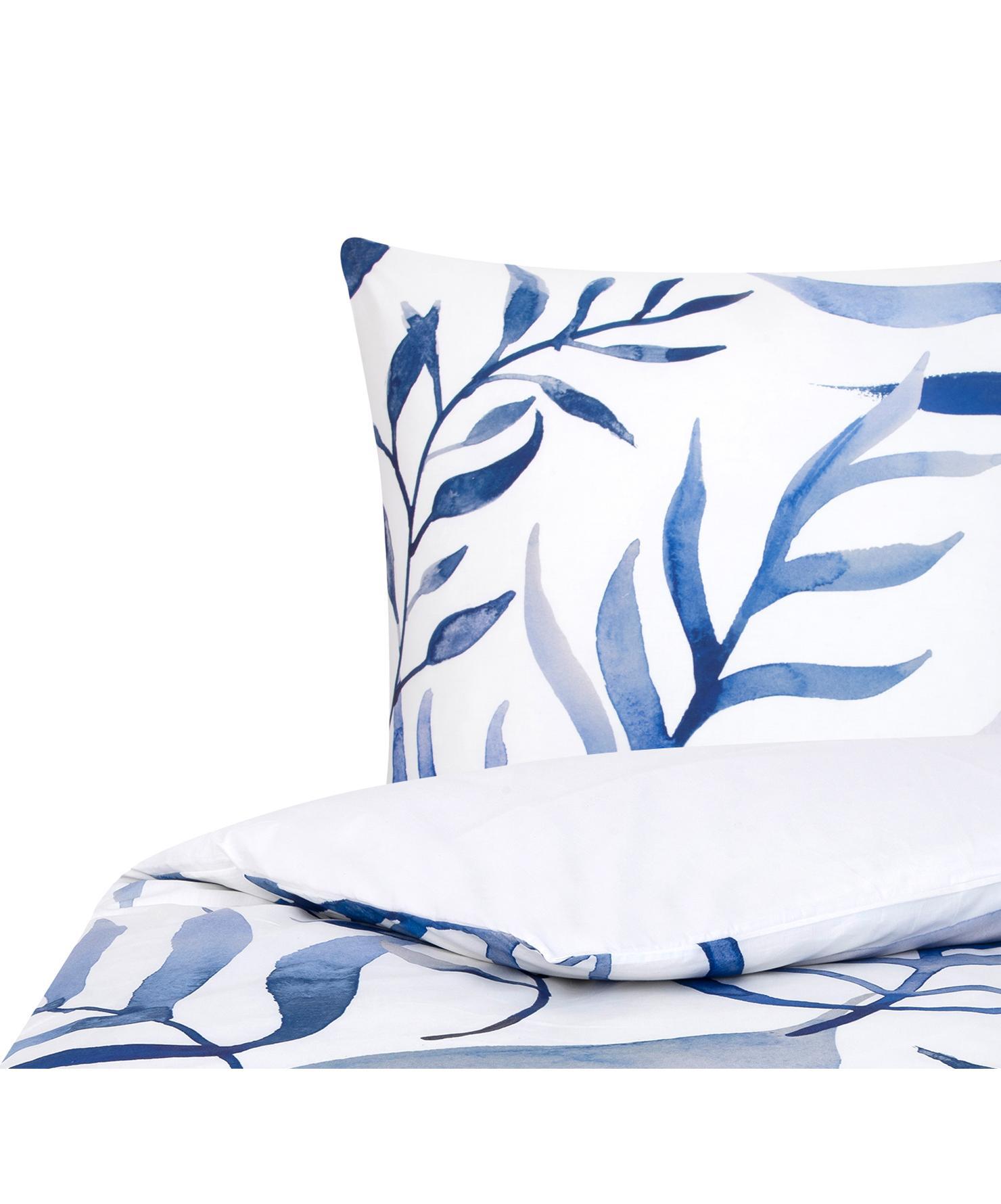 Parure copripiumino reversibile in percalle Francine, Tessuto: percalle Densità del filo, Fronte: blu, bianco Retro: bianco, 155 x 200 cm