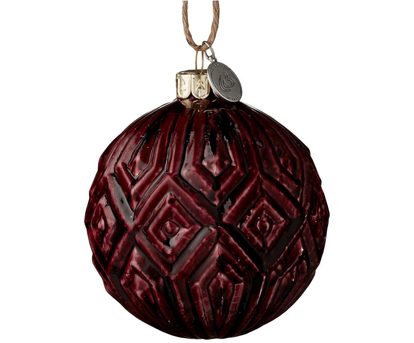 Kerstballen Cemianne, 2 stuks, Donkerrood, Ø 8 x H 8 cm