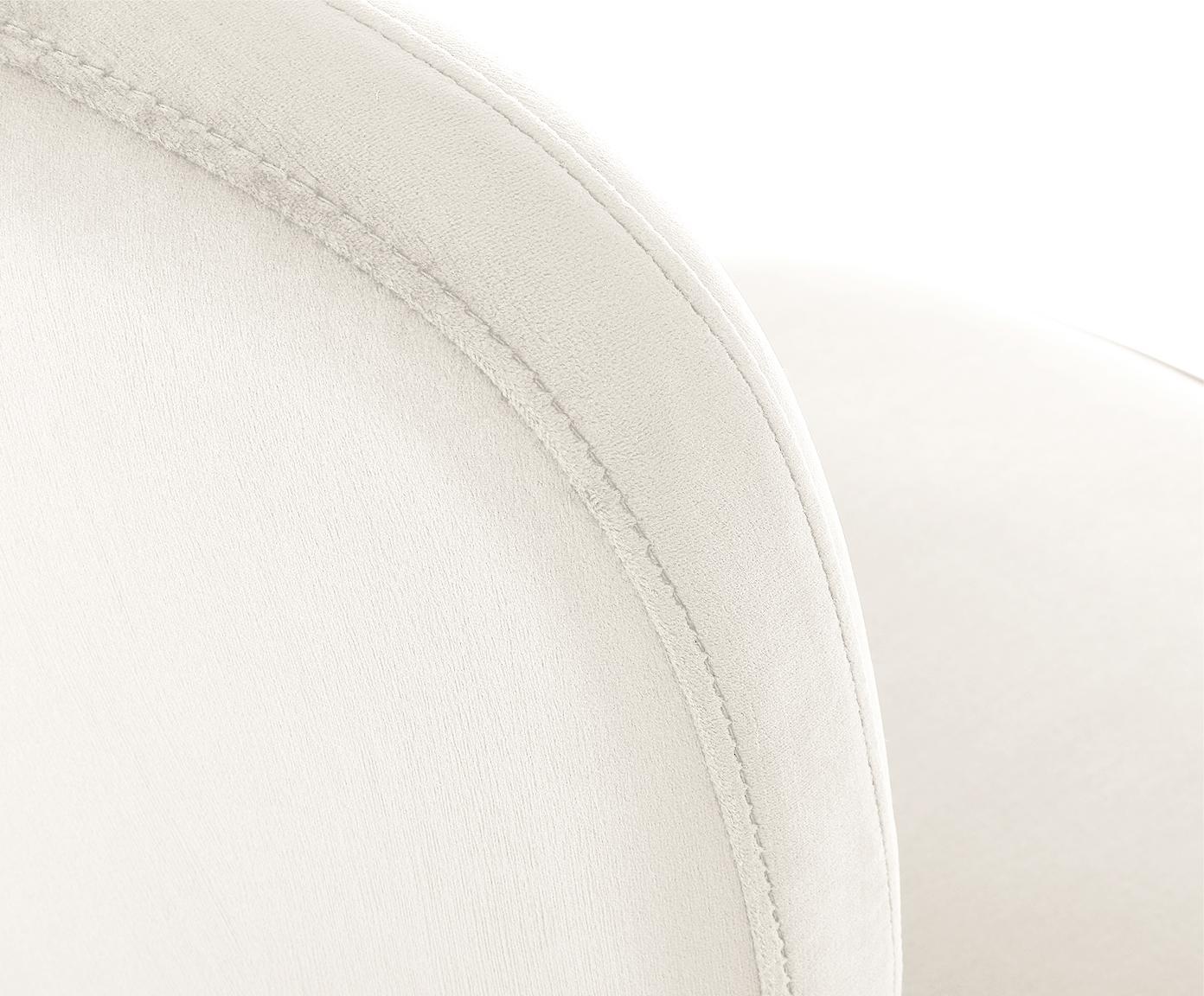 Krzesło tapicerowane z aksamitu Viggo, Tapicerka: aksamit (poliester) 50 00, Tapicerka: beżowy Nogi i stelaż: odcienie złotego, matowy, S 49 x G 66 cm