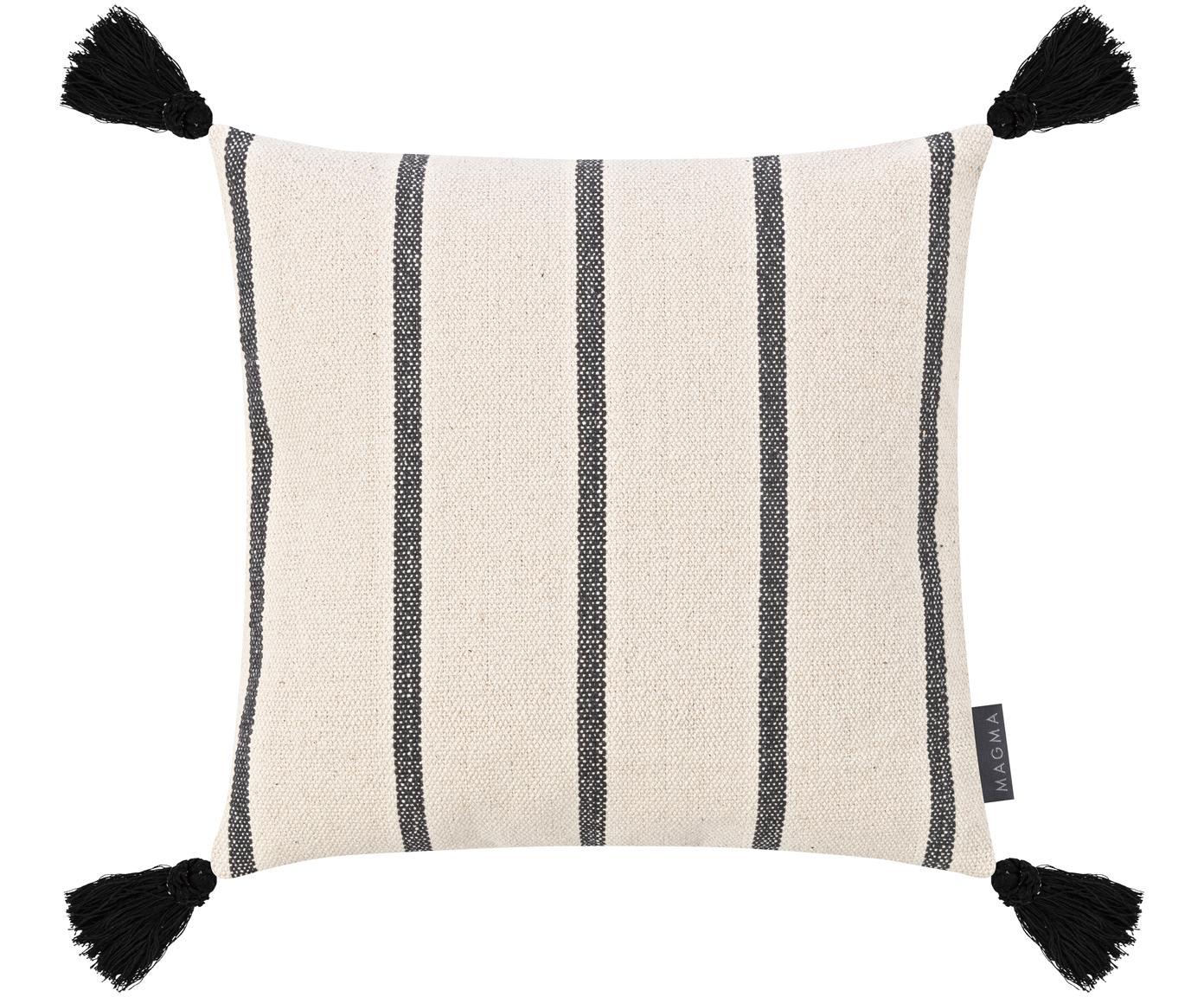 Gestreifte Kissenhülle Oyo mit Quasten, 100% Baumwolle, Schwarz, gebrochenes Weiss, 40 x 40 cm