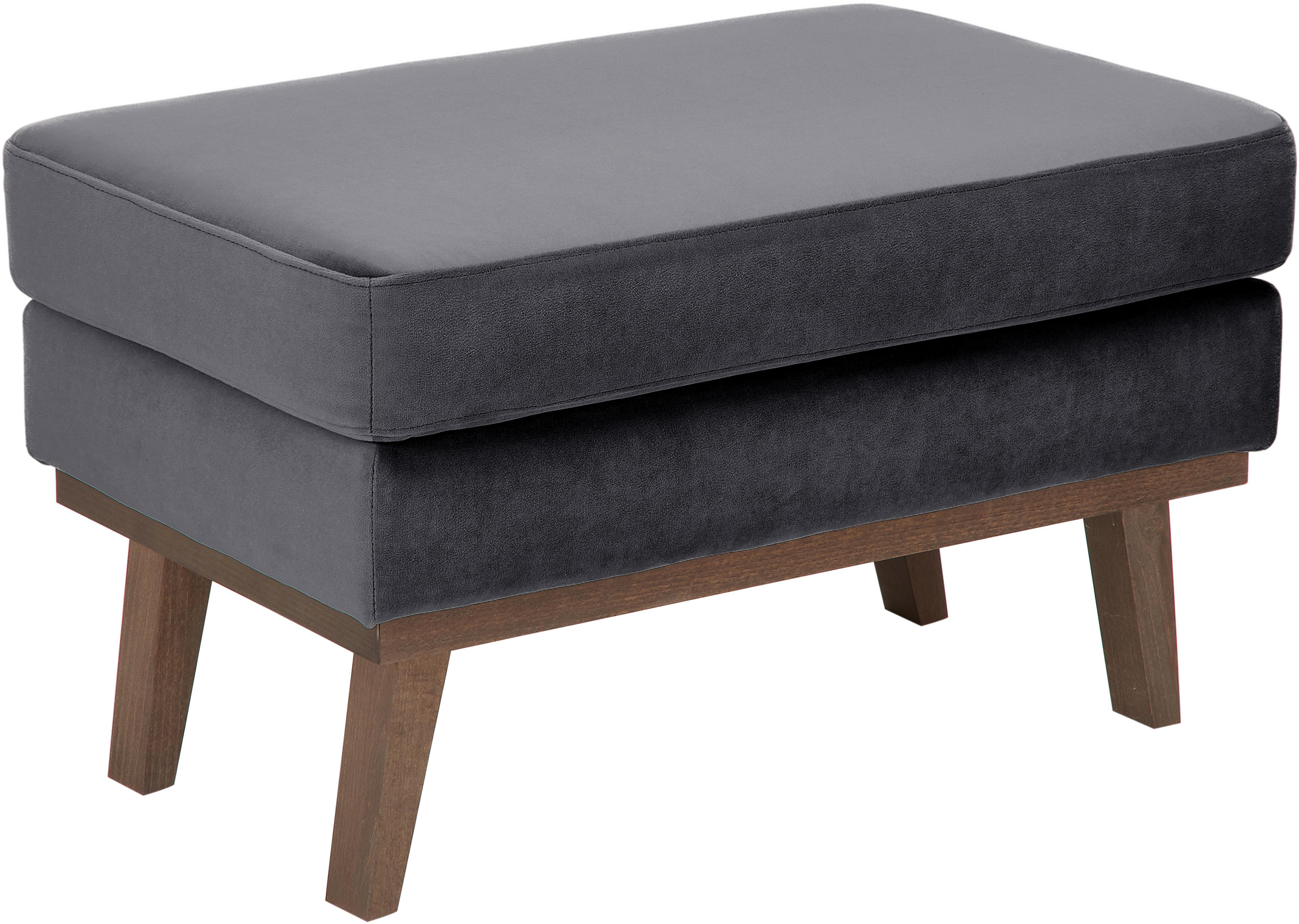 Sofa-Hocker Alva aus Samt, Bezug: Samt (Hochwertiger Polyes, Gestell: Massives Kiefernholz, Füße: Massives Buchenholz, gebe, Dunkelgrau, B 74 x T 44 cm