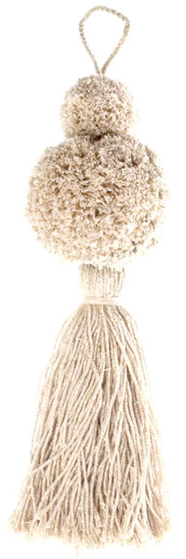 Kerstboomhangers Pompon, 2 stuks, Katoen met Lurex draden, Wit, goudkleurig, Ø 8 x H 37 cm