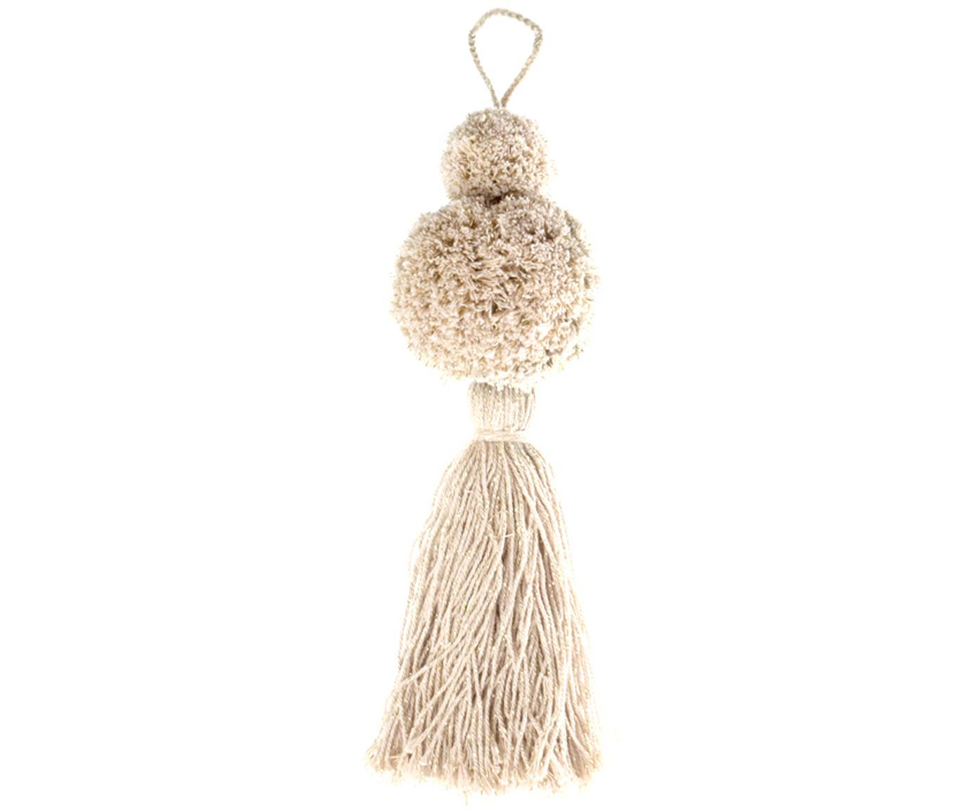 Adornos navideños Pompon, 2uds., Algodón con hilo de lurex, Blanco, dorado, Ø 8 x Al 37 cm