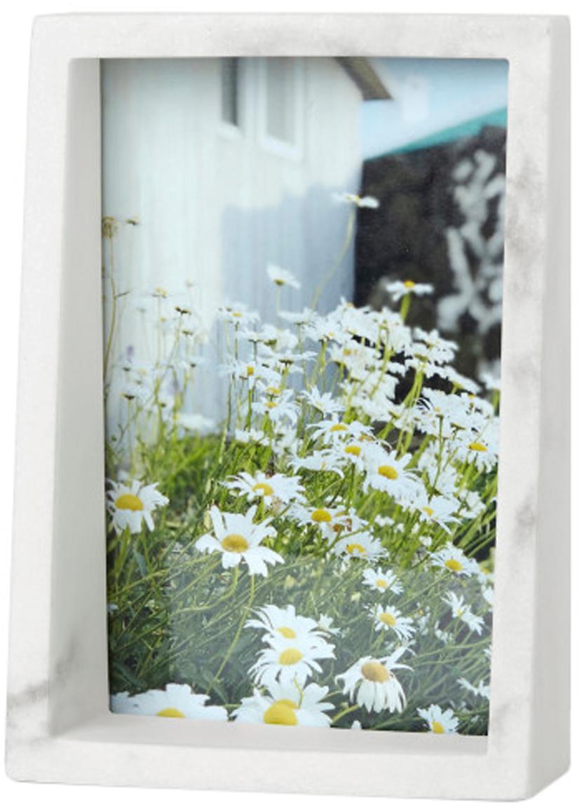 Portafoto da tavolo effetto marmo Edge, Poliresina con effetto marmo, Bianco, 10 x 15 cm