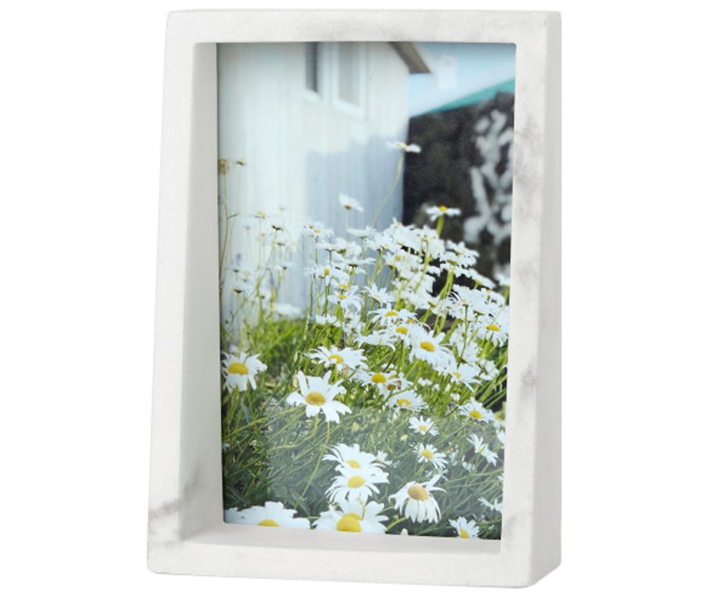 Fotolijstje Edge, Polyresin in marmerlook, Wit, 10 x 15 cm