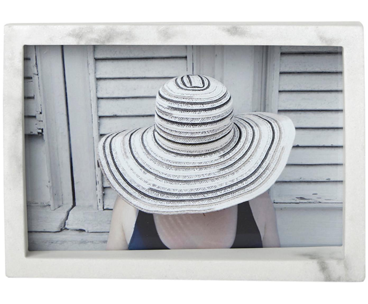 Ramka na zdjęcia Edge, Poliresing z wzorem marmurowym, Biały, 10 x 15 cm