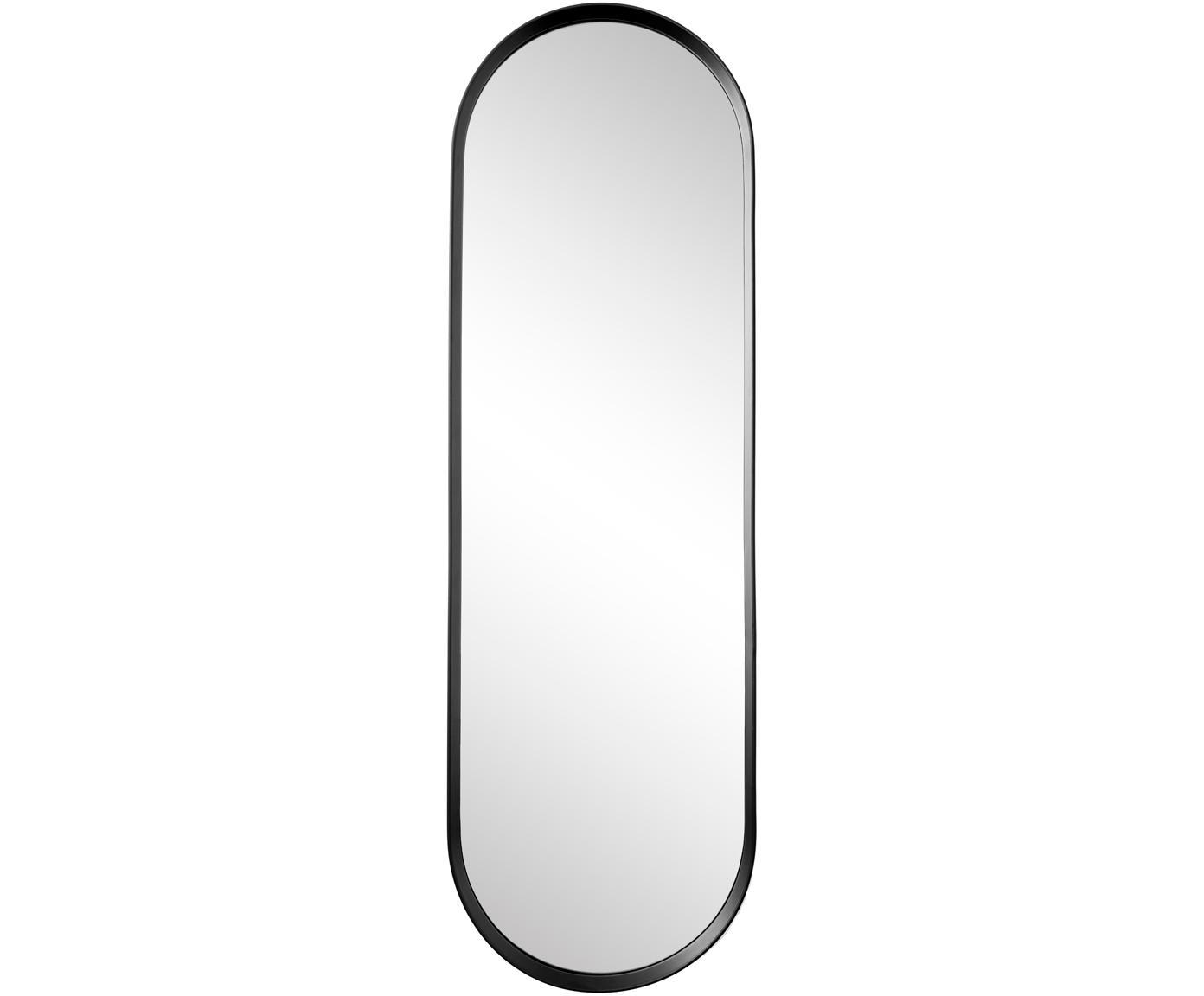 Specchio da parete Norm, Cornice: alluminio verniciato a po, Superficie dello specchio: lastra di vetro, Nero, Larg. 40 x Alt. 130 cm