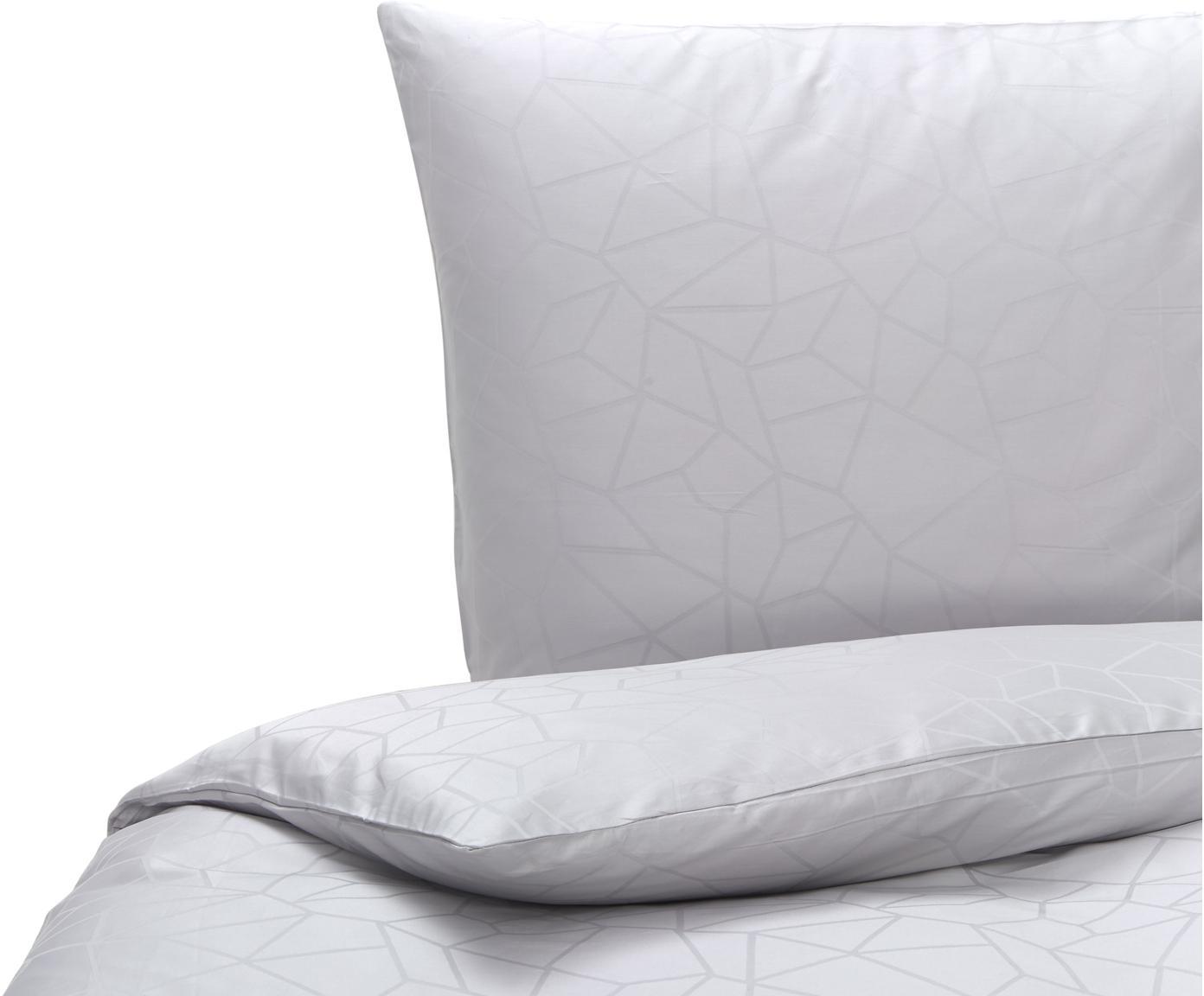 Bettwäsche  Struum mit grafischem Muster, 100% Baumwolle  Bettwäsche aus Baumwolle fühlt sich auf der Haut angenehm weich an, nimmt Feuchtigkeit gut auf und eignet sich für Allergiker., Hellgrau, 135 x 200 cm + 1 Kissen 80 x 80 cm