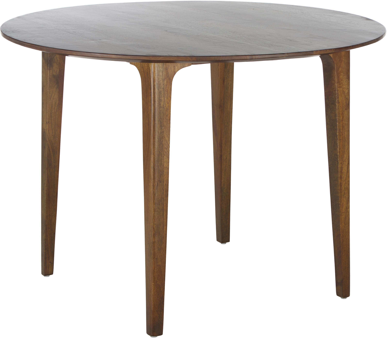 Okrągły stół do jadalni z litego drewna Archie, Lite drewno mangowe, lakierowane, Drewno mangowe, ciemny lakierowany, Ø 110 x W 75 cm