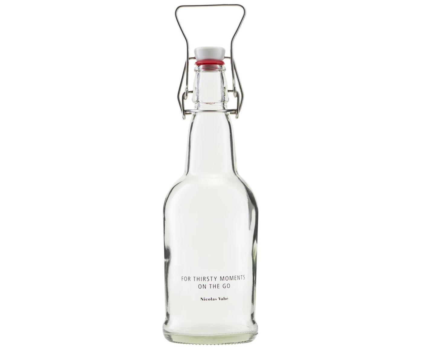 Fles Bottle, Fles: glas, Sluiting: porselein, silicone, Houder: edelstaal, Transparant, Ø 8 x H 25 cm
