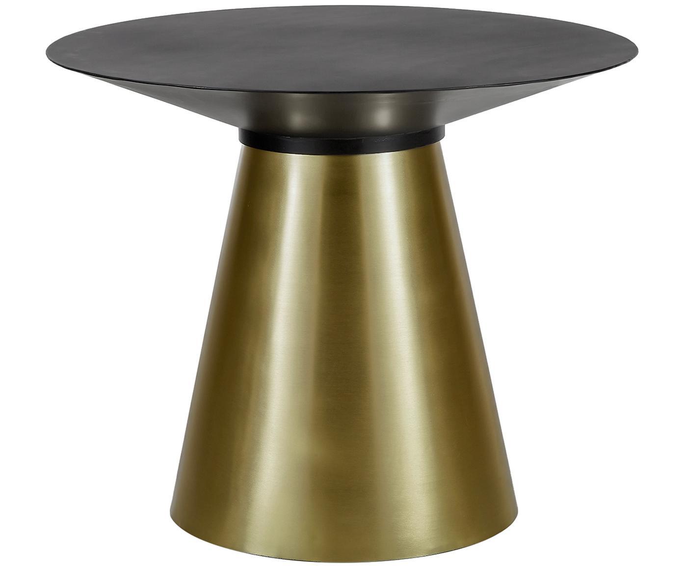 Mesa de comedor redonda Selena, Tablero: metal con pintura en polv, Estructura: metal recubierto, Negro, dorado, Ø 91 x Al 75 cm