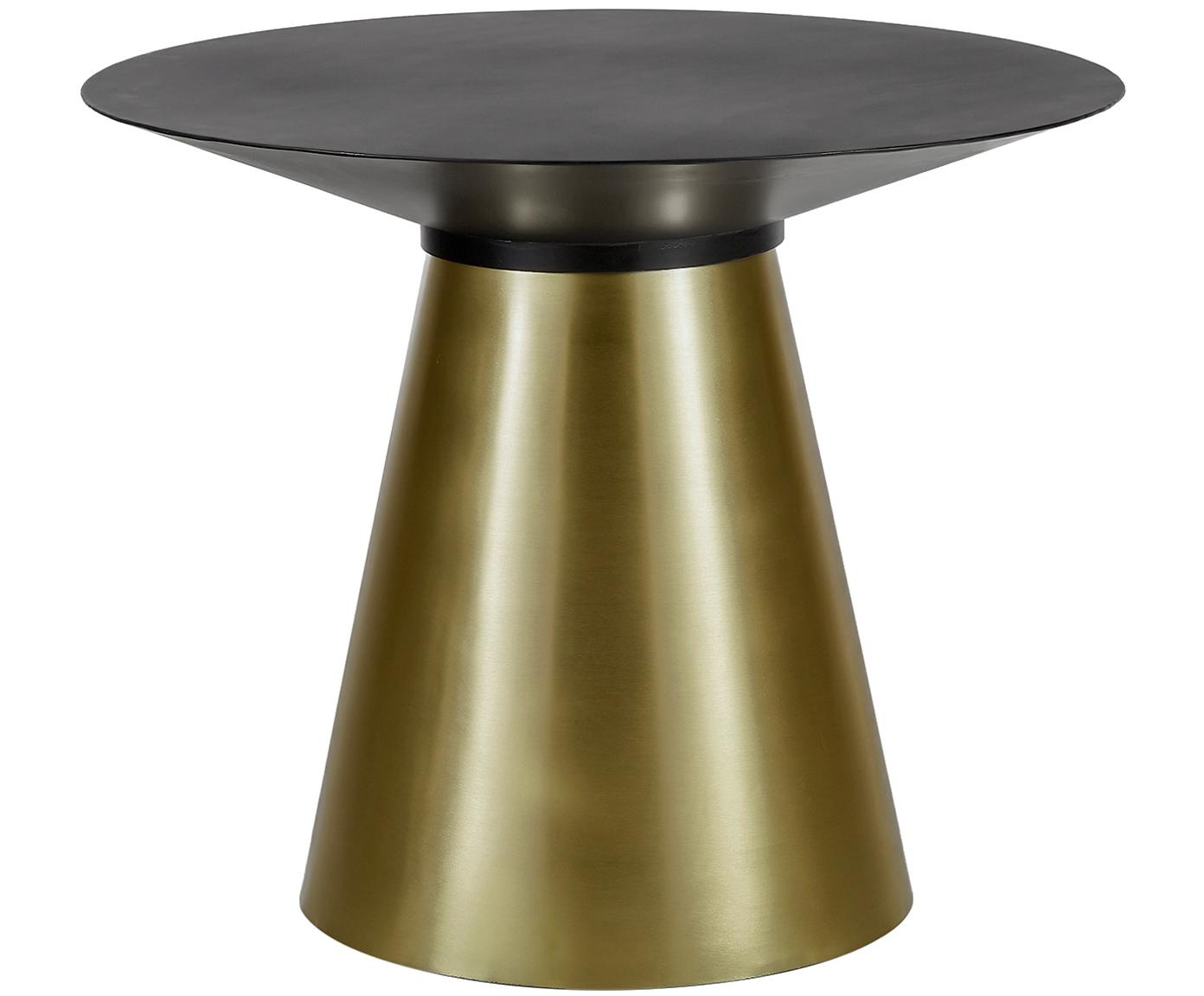 Ronde eettafel Selena met zwart tafelblad, Tafelblad: gepoedercoat metaal, Frame: gecoat metaal, Tafelblad: mat zwart. Frame: mat goudkleurig, Ø 91 x H 75 cm