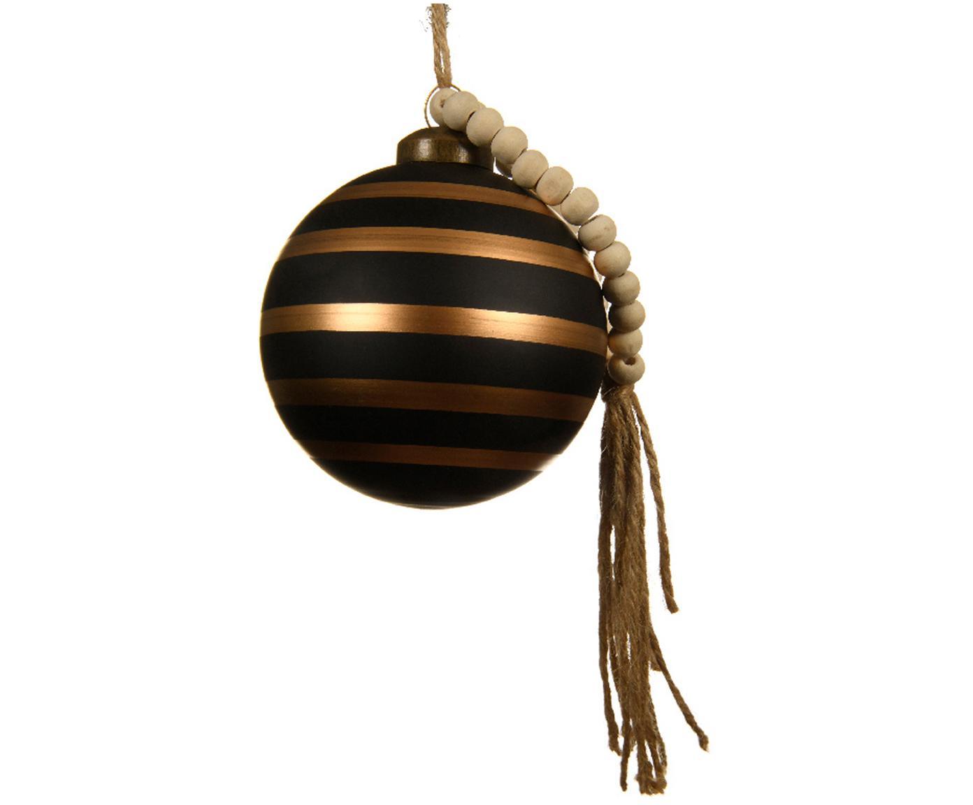 Kerstballen Gold Lines, 2 stuks, Zwart, bruin, Ø 8 cm