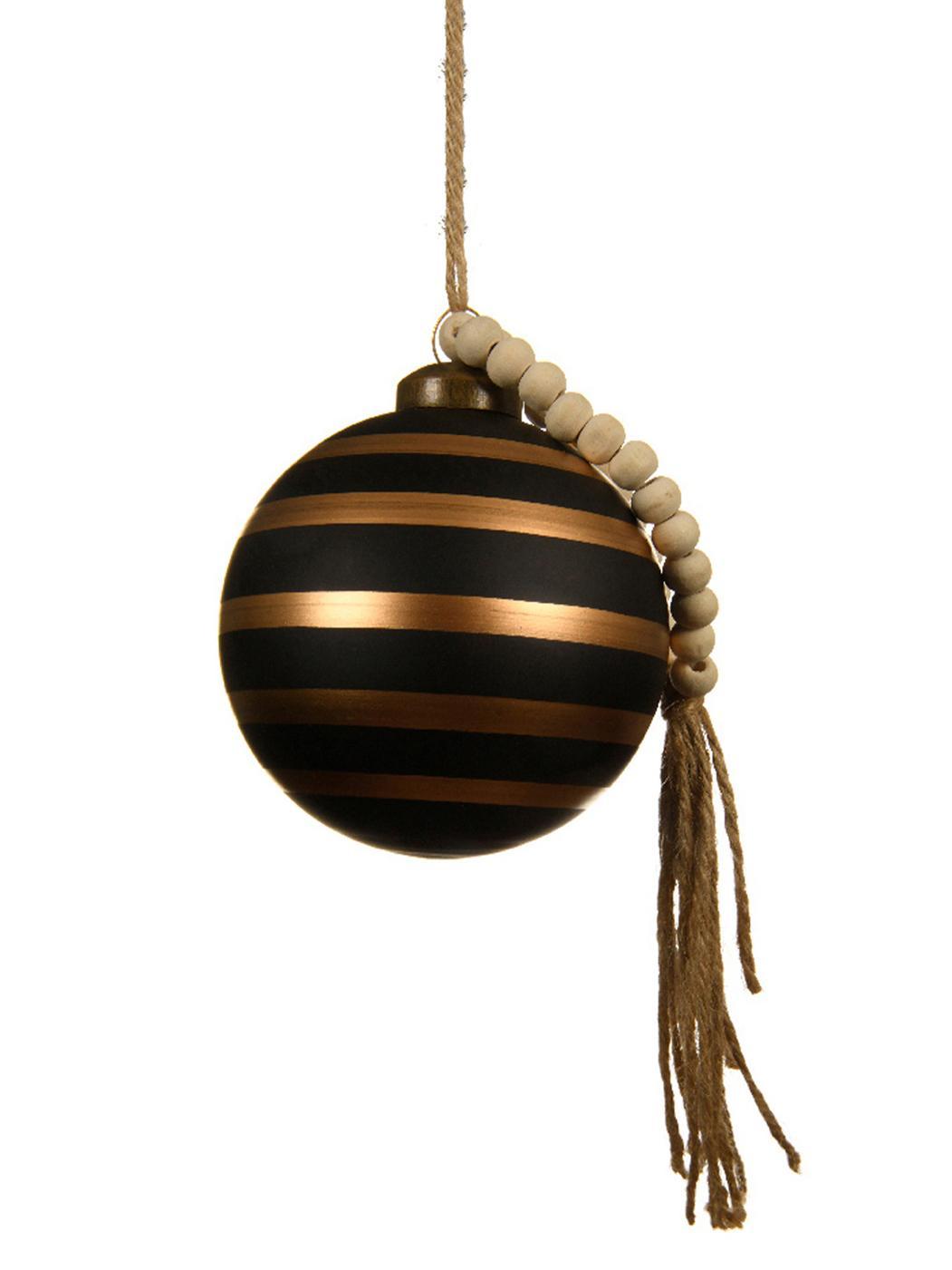 Bolas de Navidad Gold Lines, Ø8cm, 2uds., Negro, marrón, Ø 8 cm