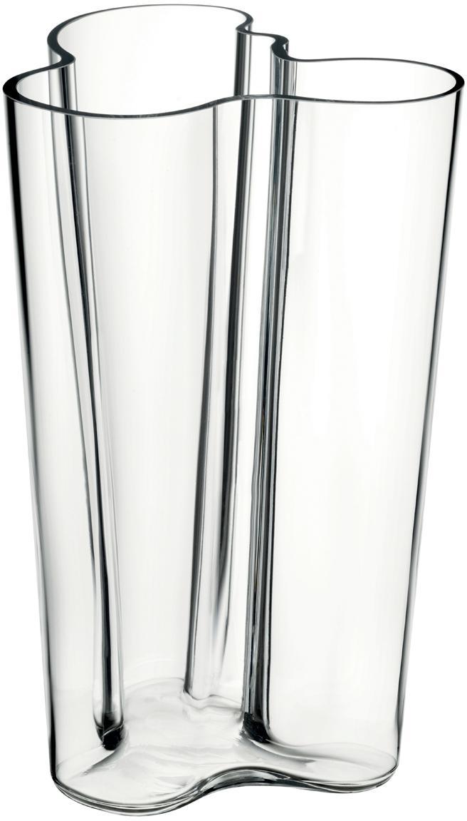 Jarrón de diseño Alvar Aalto, Vidrio, Transparente, An 17 x Al 25 cm