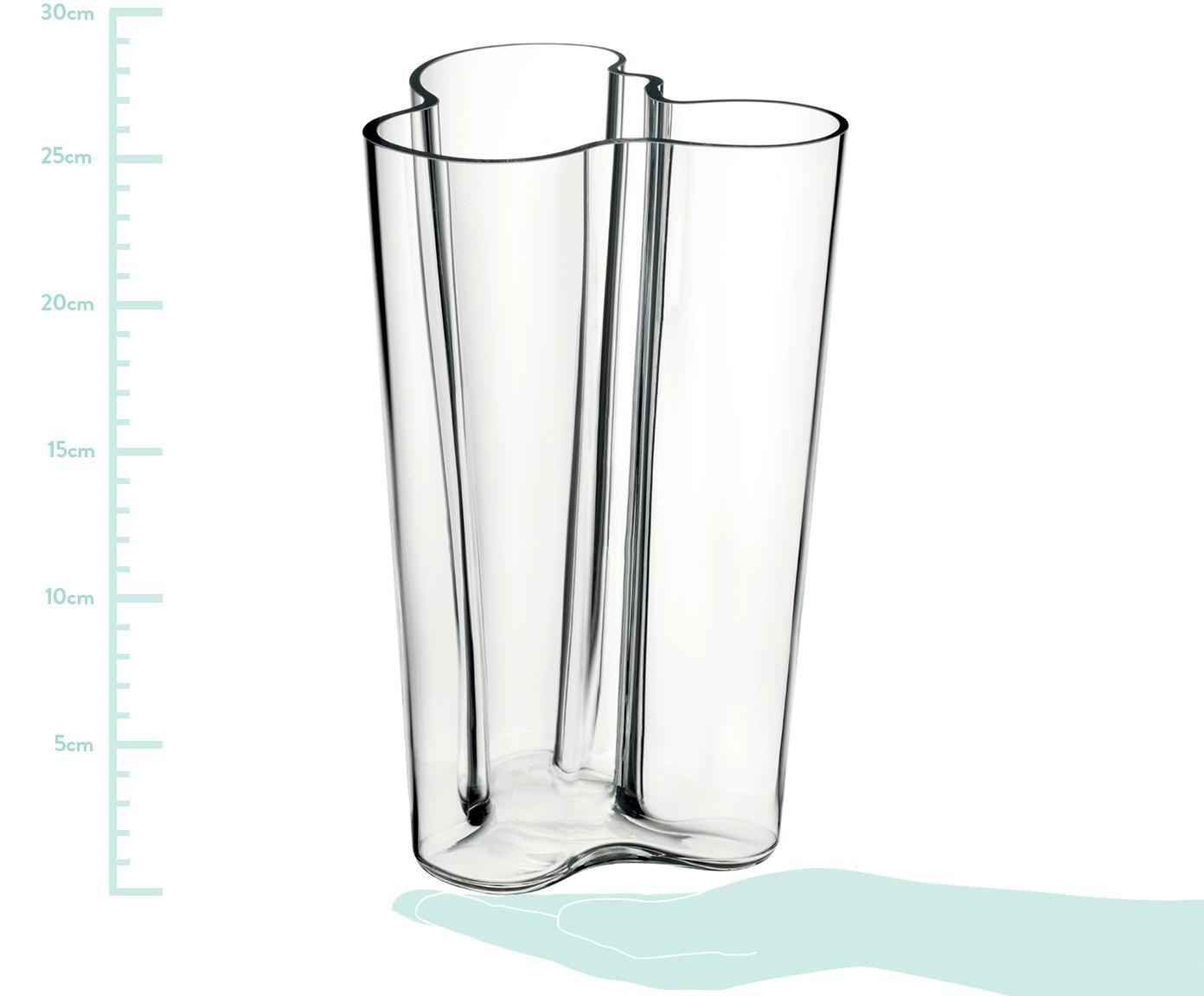 Design-Vase Alvar Aalto, Glas, Transparent, 17 x 25 cm