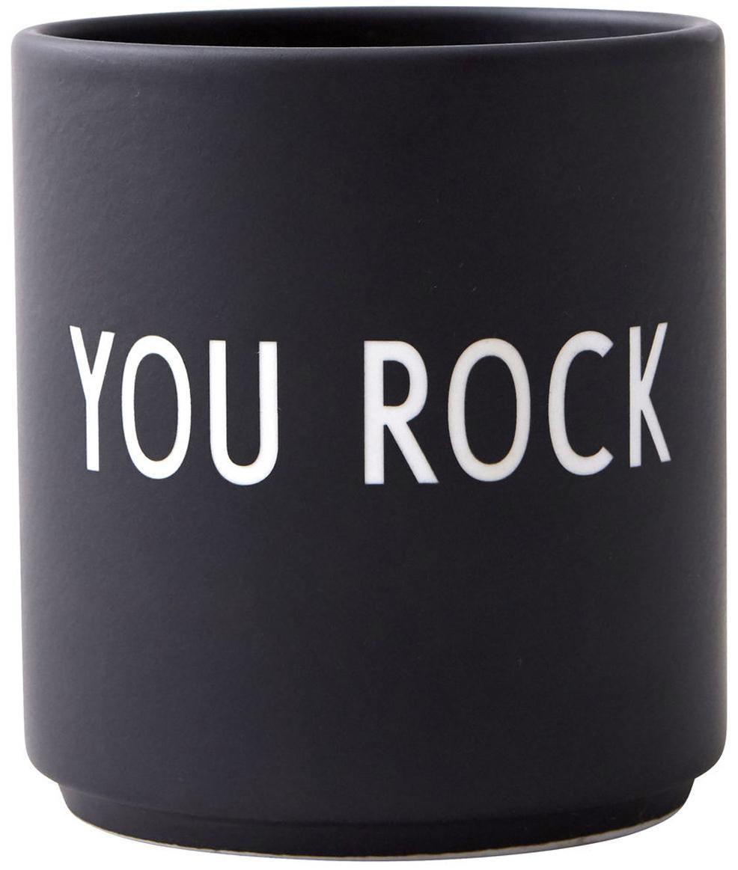 Design Becher Favourite YOU ROCK in Schwarz mit Schriftzug, Fine Bone China (Porzellan) Fine Bone China ist ein Weichporzellan, das sich besonders durch seinen strahlenden, durchscheinenden Glanz auszeichnet., Schwarz, Weiß, Ø 8 x H 9 cm