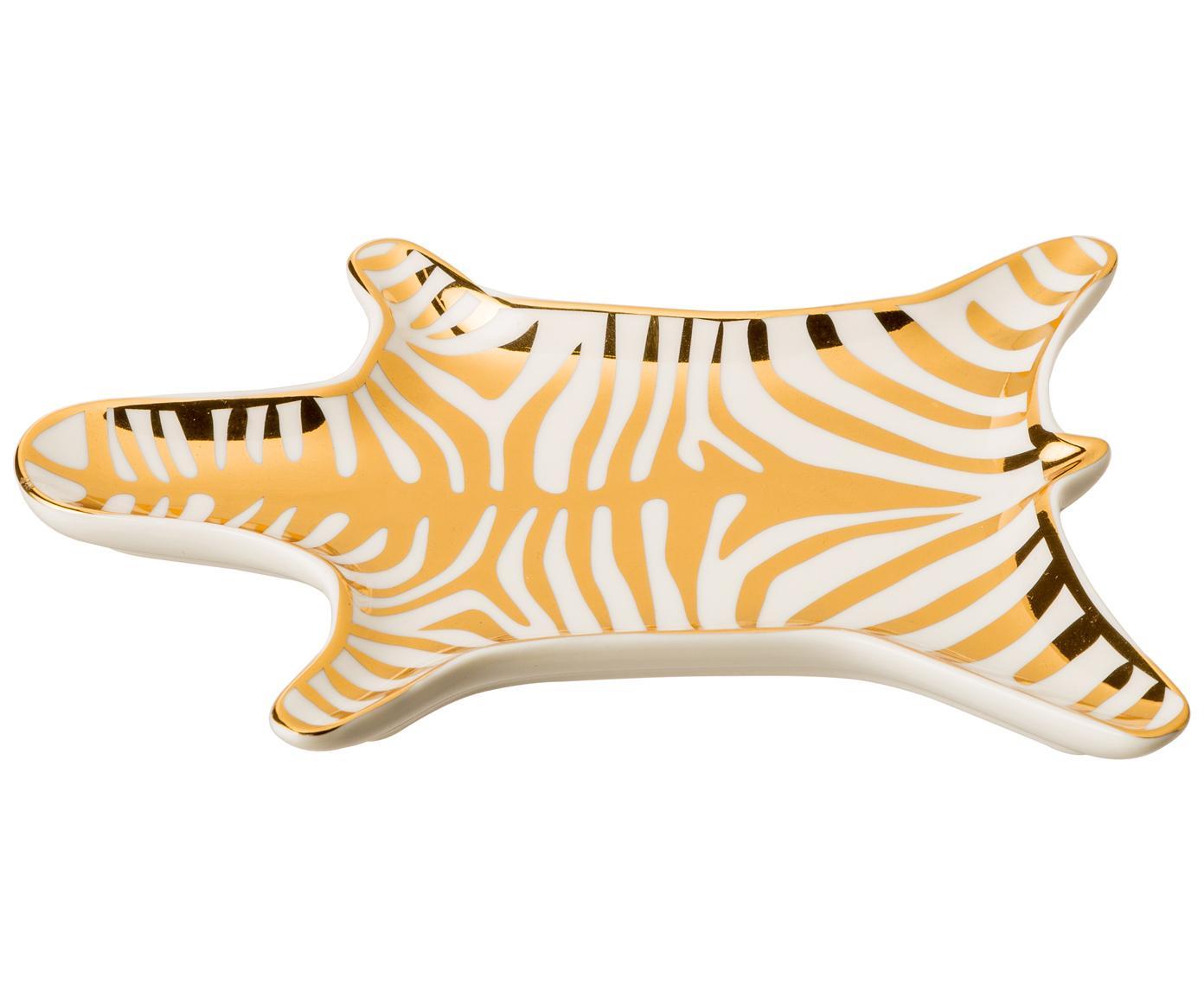 Designer-Deko-Schale Zebra aus Porzellan, Porzellan, Goldfarben, Weiss, B 15 x T 11 cm