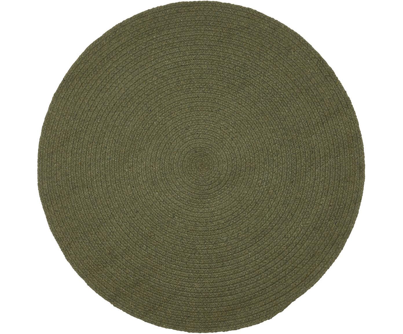 Runder Teppich Moon aus recycelter Baumwolle, 100% Recycelte Baumwolle, Khaki, Ø 90 cm (Grösse XS)