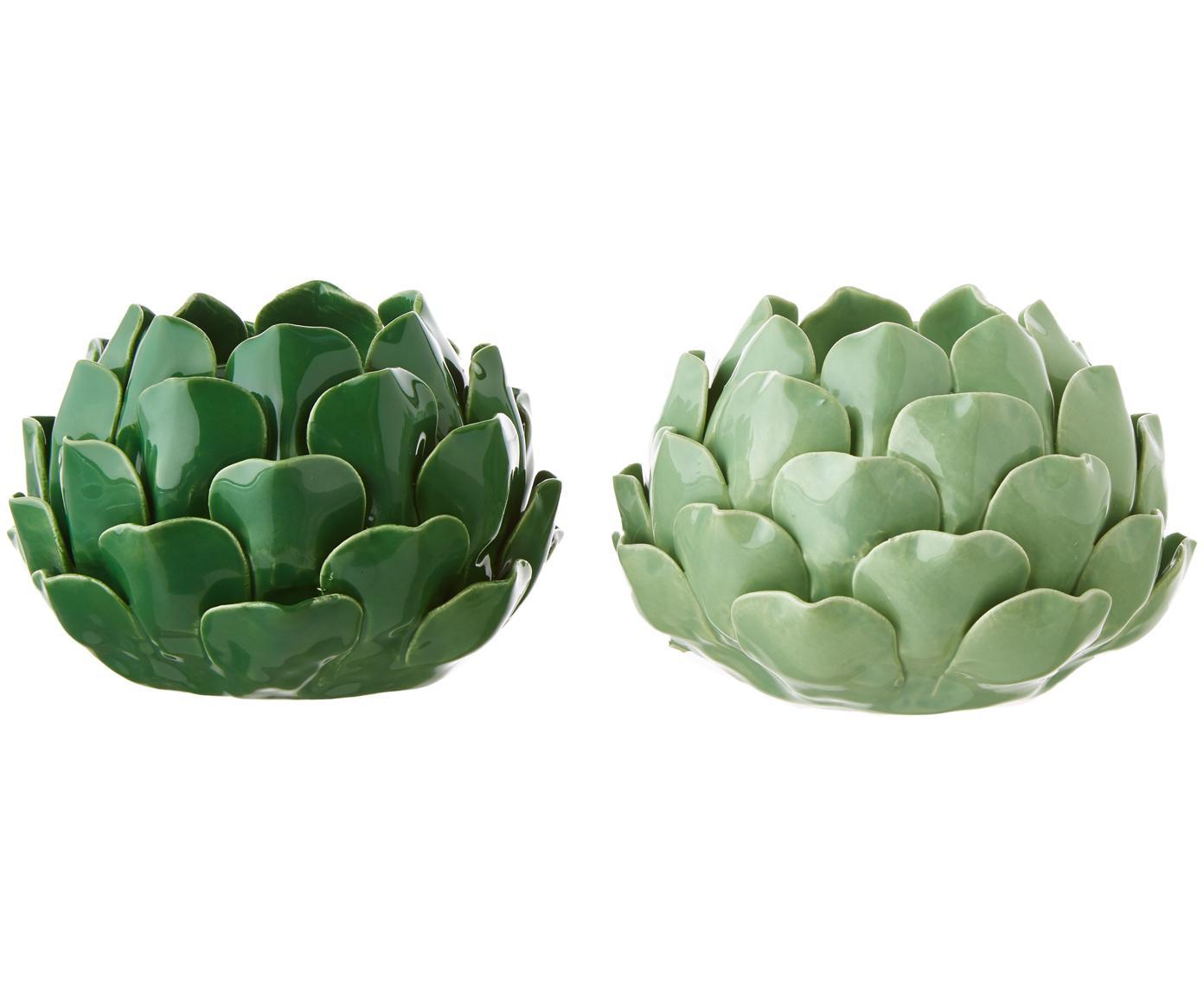 Teelichthalter-Set Rose, 2-tlg., Steingut, Hellgrün, Dunkelgrün, Ø 14 x H 9 cm
