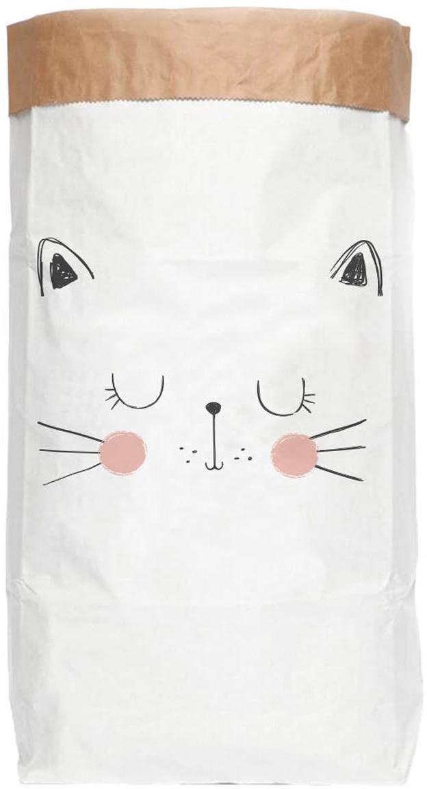 Aufbewahrungstüte Cat, Recyceltes Papier, Weiß, Schwarz, Rosa, 60 x 90 cm