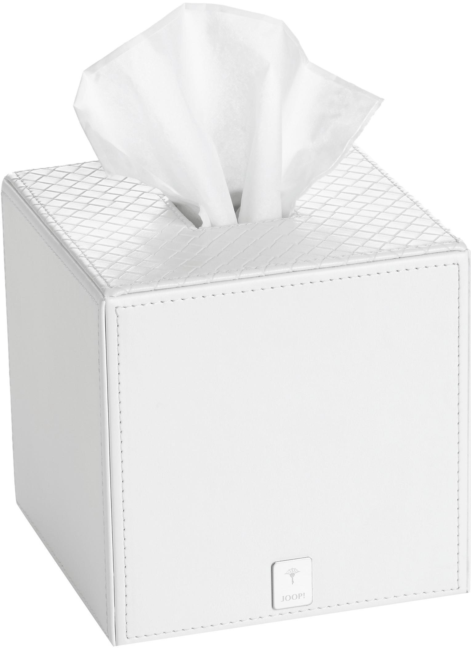 Pudełko na chusteczki Polly, Żywica, sztuczna skóra, Biały, S 13 x W 13 cm