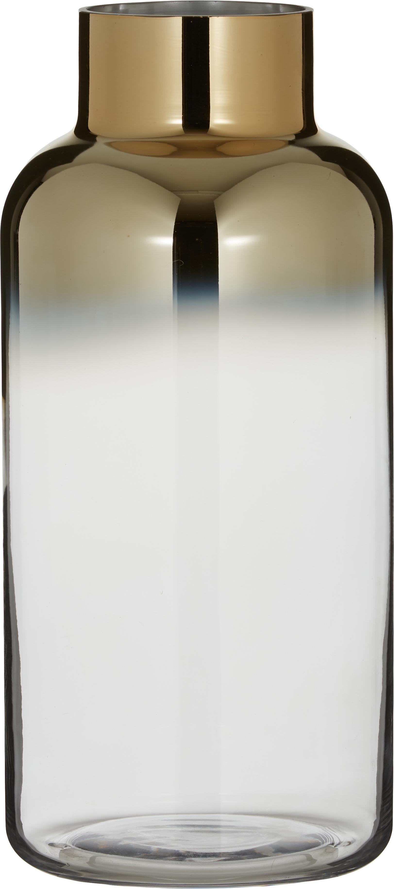 Wazon Uma, Szkło, Transparentny, odcienie złotego, Ø 16 x W 35 cm