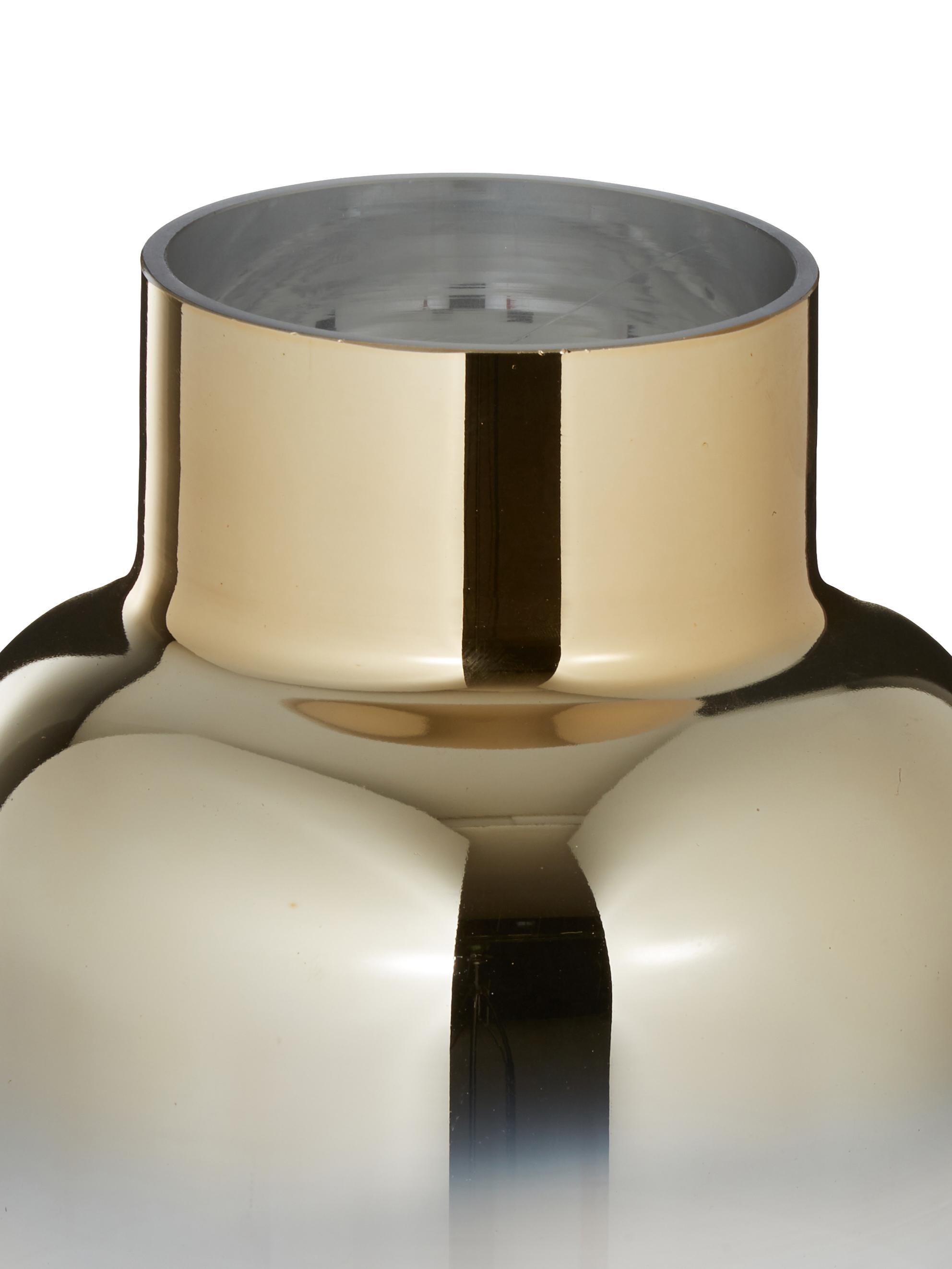 Vaas Uma, Glas, Transparant, goudkleurig, Ø 16 x H 35 cm