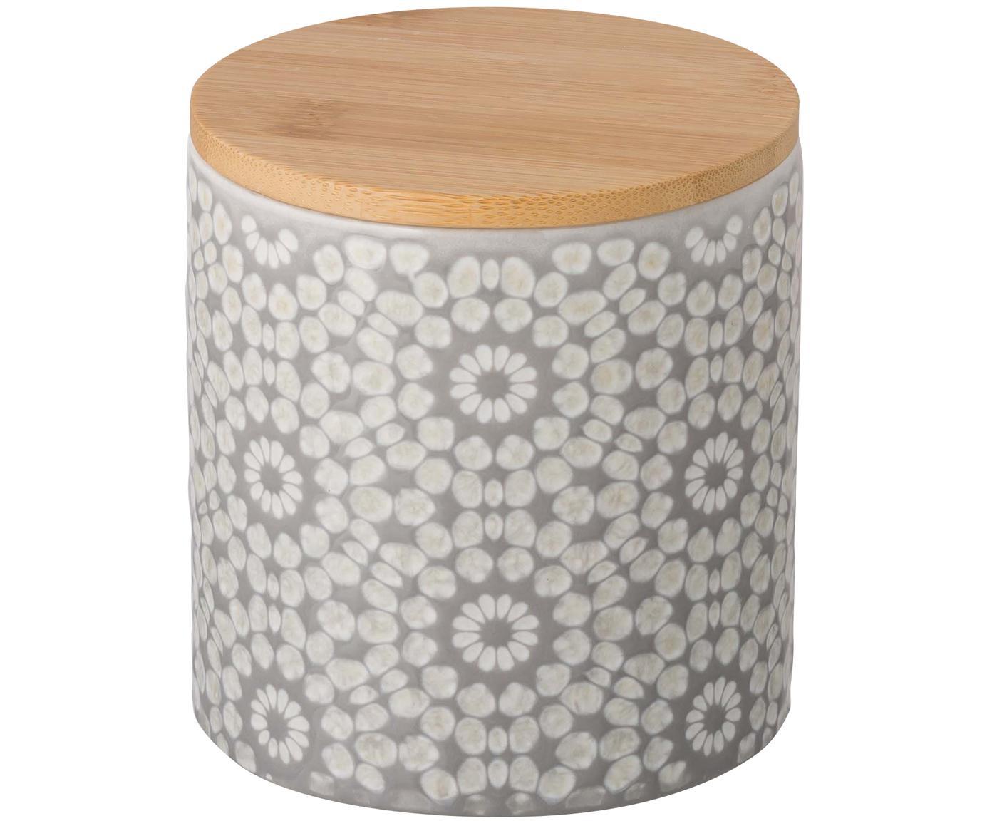 Opbergdoos Abella, Doos: keramiek, Deksel: bamboe, Doos: cementgrijs, wit<br>Deksel: bamboe, Ø 11 x H 12 cm