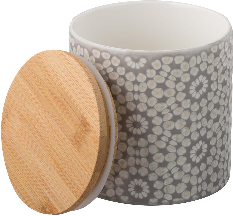 Aufbewahrungsdose Abella, Dose: Keramik, Deckel: Bambus, Dose: Zementgrau, Weiß<br>Deckel: Bambus, Ø 11 x H 12 cm