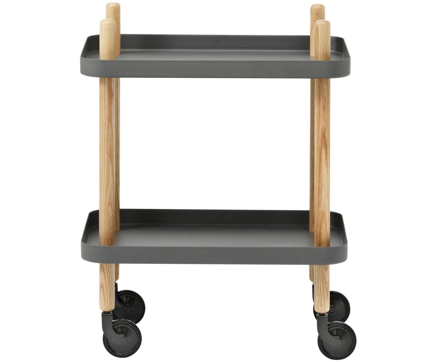 Bijzettafel Block in Scandi design, Frame: essenhout, Wieltjes: staal, rubber, Donkergrijs, 50 x 64 cm