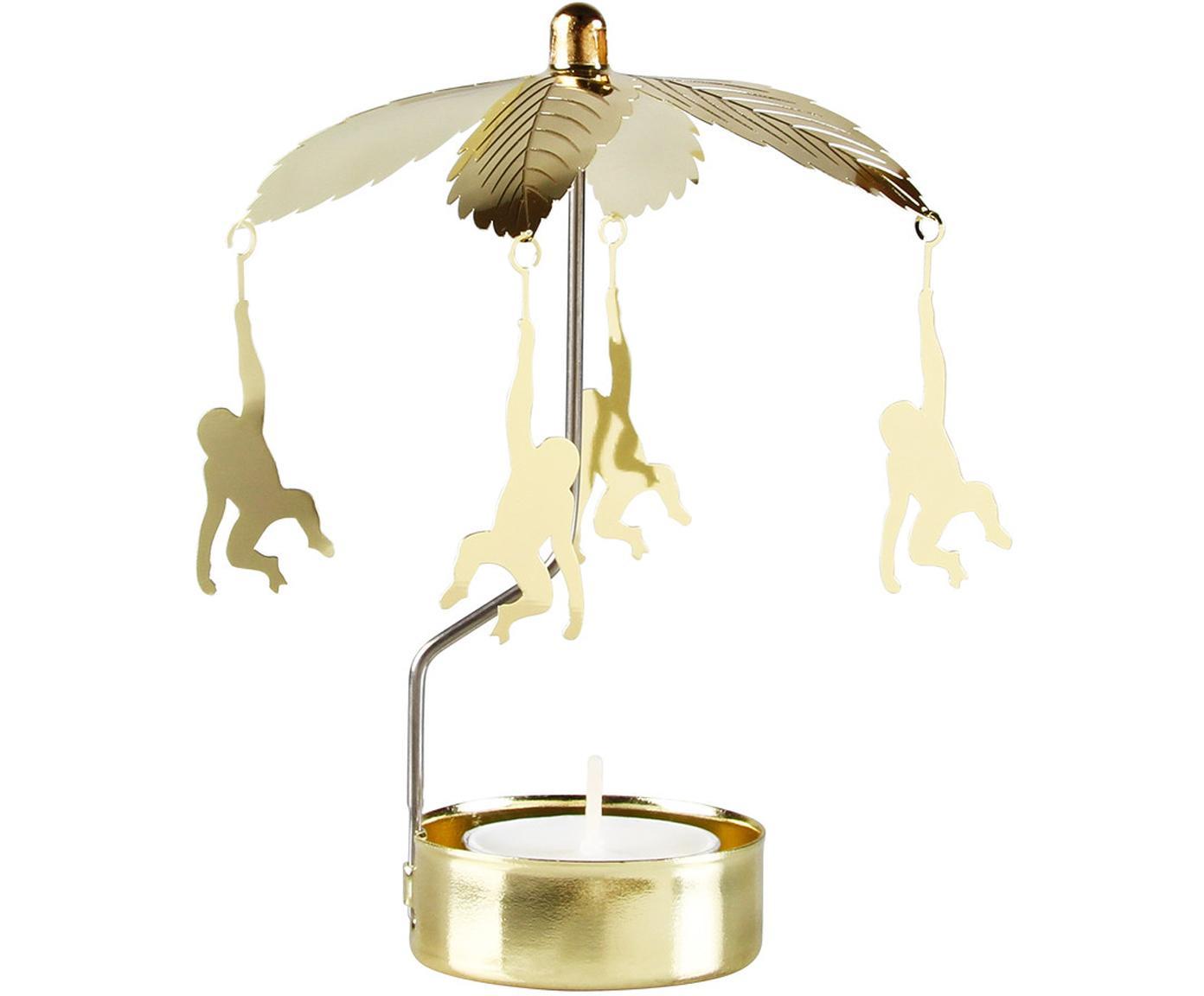 Portalumini con scimmie Monkey -go-round, Alluminio verniciato, Ottonato, Ø 10 x Alt. 14 cm