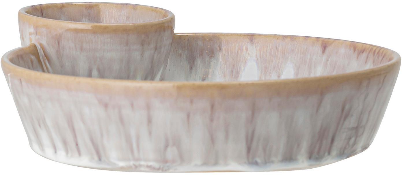 Handgemachte Schale Caya, Steingut, Beige, 24 x 4 cm