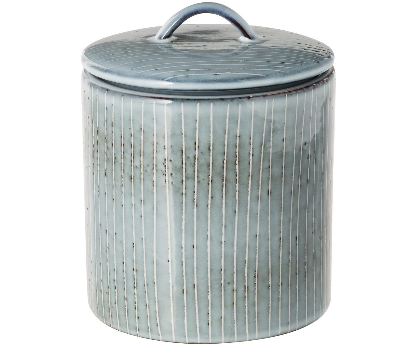Ręcznie wykonany pojemnik do przechowywania z kamionki Nordic Sea, Kamionka, Szary i odcienie niebieskiego, Ø 12 x W 12 cm
