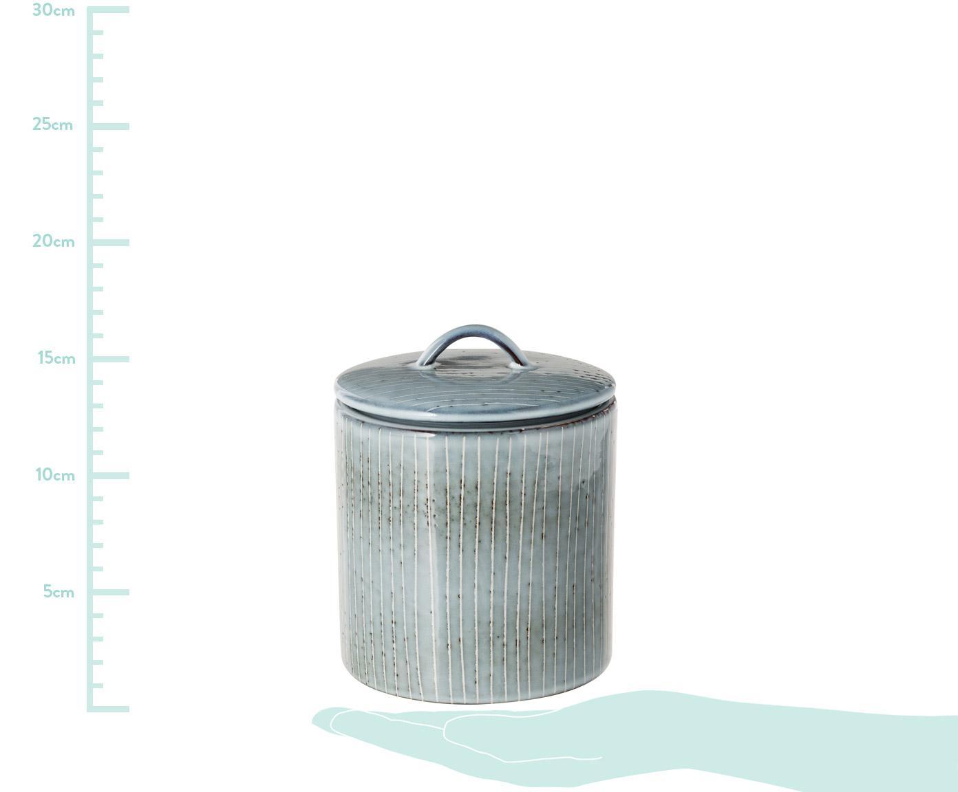 Handgemachte Aufbewahrungsdose Nordic Sea aus Steingut, Steingut, Grau- und Blautöne, Ø 12 x H 12 cm