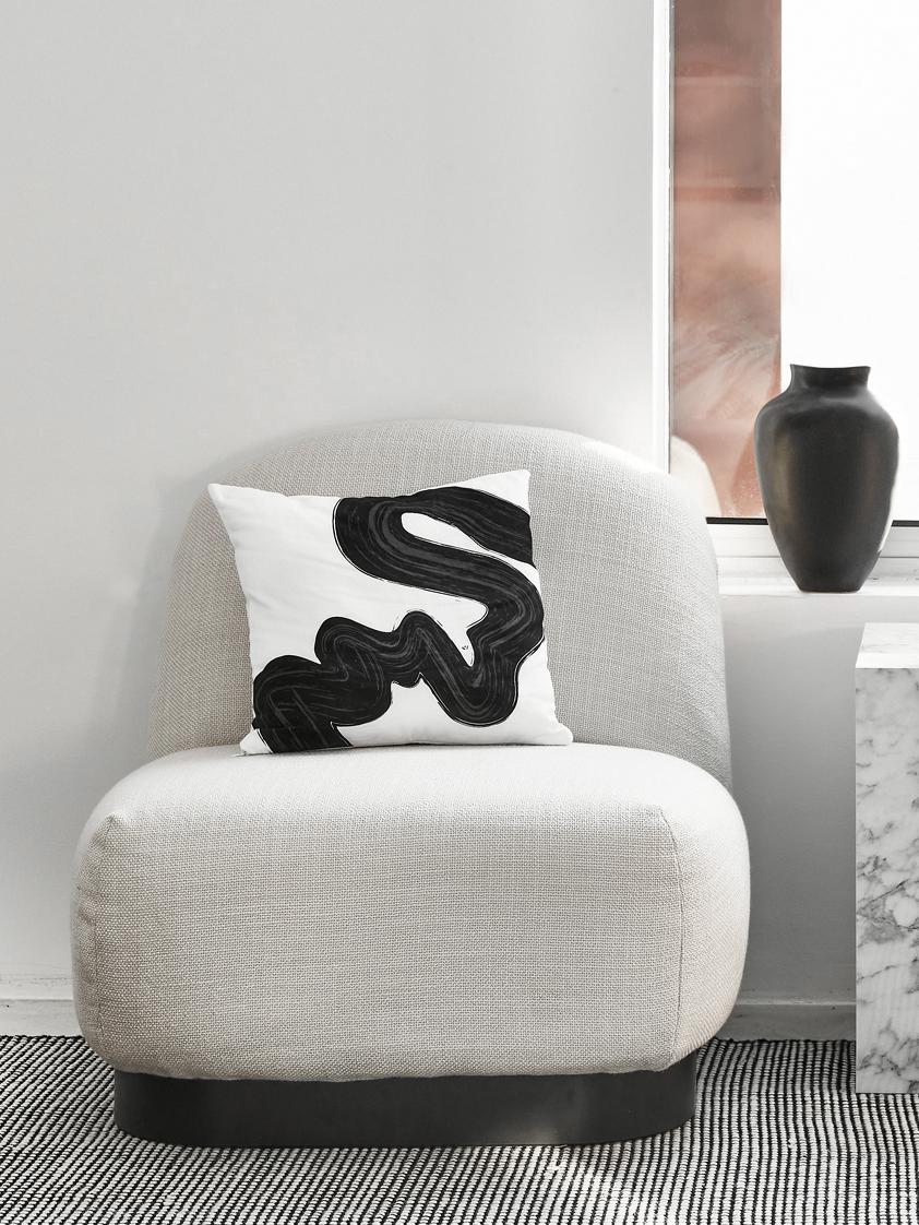 Sedia a poltrona bianco crema Elsie, Rivestimento: poliestere, Struttura: compensato, massiccio leg, Piedini: metallo verniciato a polv, Tessuto bianco crema, Larg. 77 x Prof. 84 cm