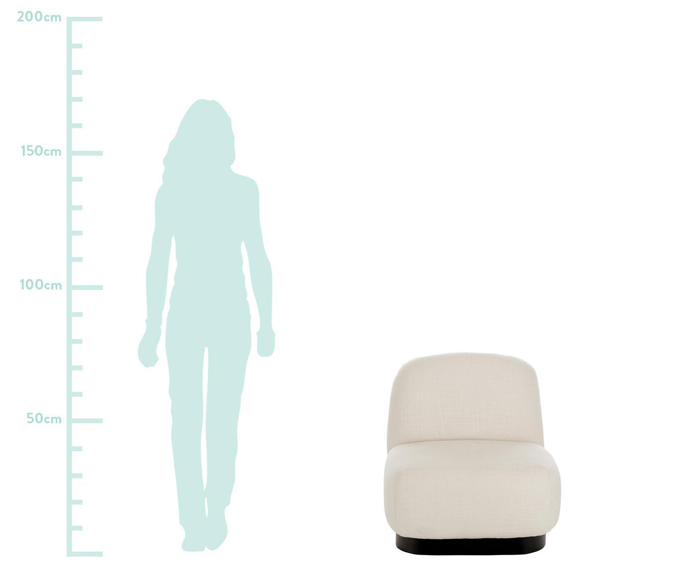 Fotel wypoczynkowy Elsie, Tapicerka: poliester, Stelaż: sklejka, lite drewno euka, Noga: metal malowany proszkowo, Kremowobiały, S 77 x G 84 cm