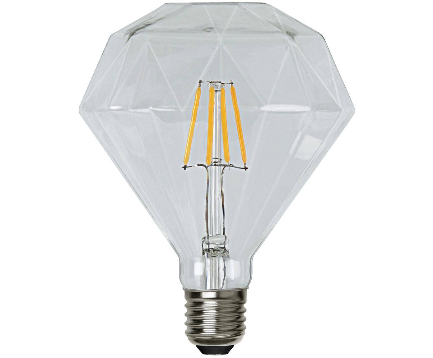 Lampadina a LED Diamond (E27 / 3Watt), Paralume: vetro, Base lampadina: nichel, Trasparente, Ø 12 x Alt. 13 cm