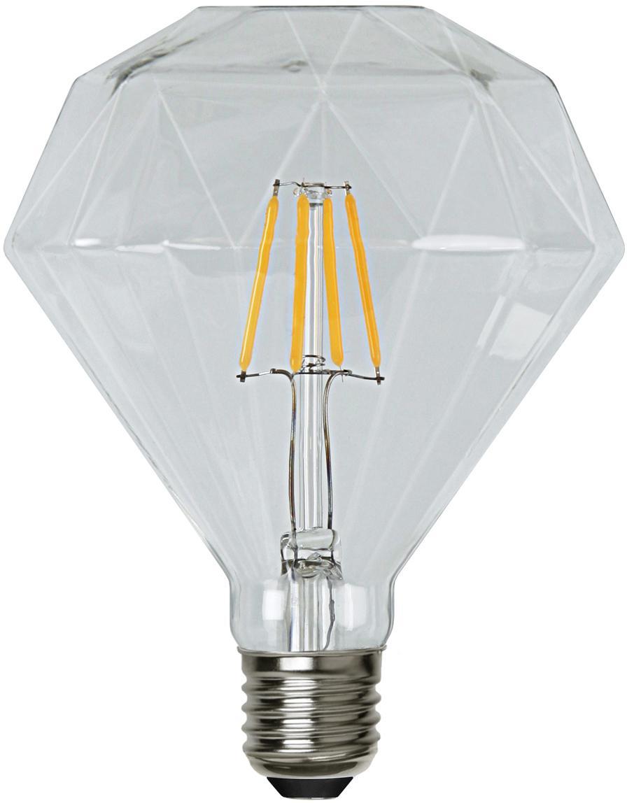 LED  lamp Diamond (E27 / 3W), Peertje: glas, Fitting: nikkel, Transparant, Ø 12 x H 13 cm