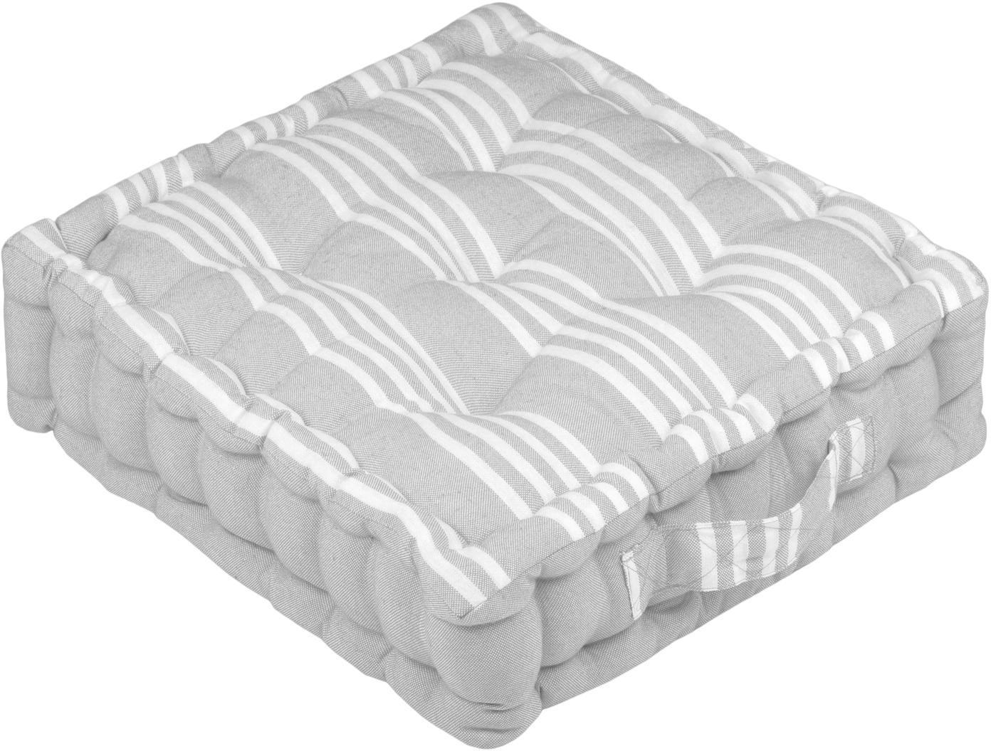 Klein gestreept vloerkussen Mandelieu in grijs, Katoenmix, Lichtgrijs, wit, B 45 cm