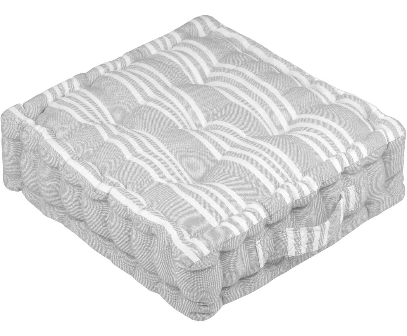 Cuscino da pavimento in grigio e bianco Mandelieu, Cotone misto, Grigio chiaro, bianco, Larg. 45 x Lung. 10 cm