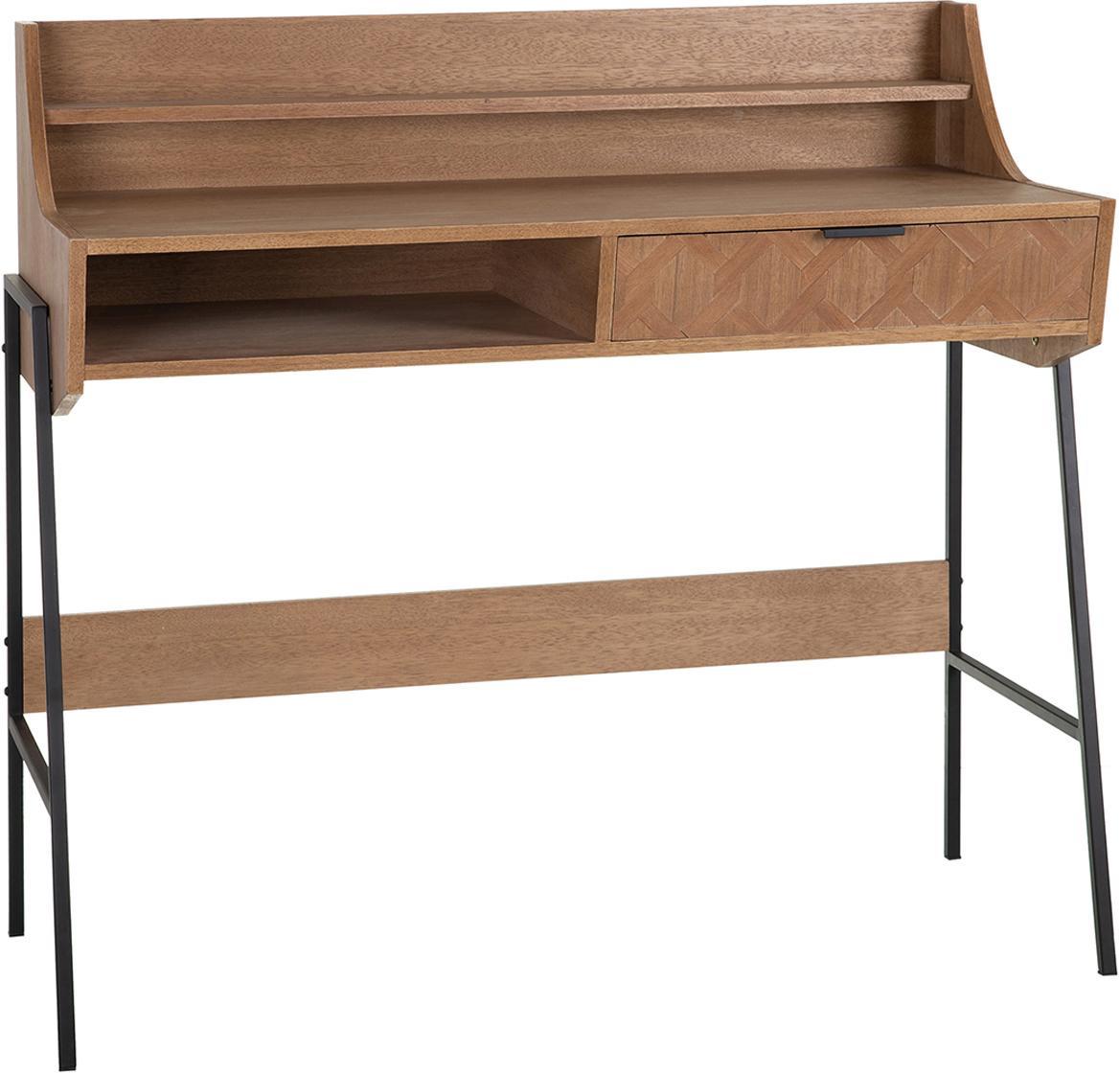 Escritorio Anne, Cuerpo: madera de fresno, tablero, Patas: metal, Fresno, negro, An 103 x Al 97 cm