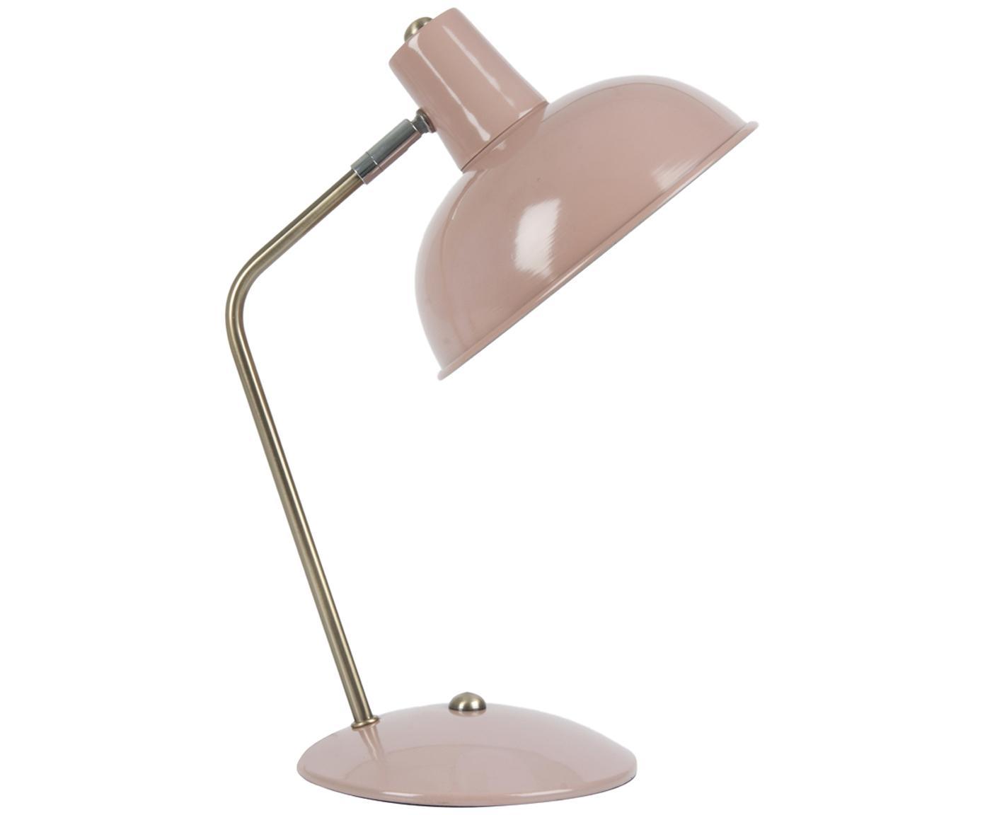 Retro-Schreibtischlampe Hood, Leuchte: Rosa, Messingfarben<br>Lampenschirm innen: Weiß, 20 x 38 cm