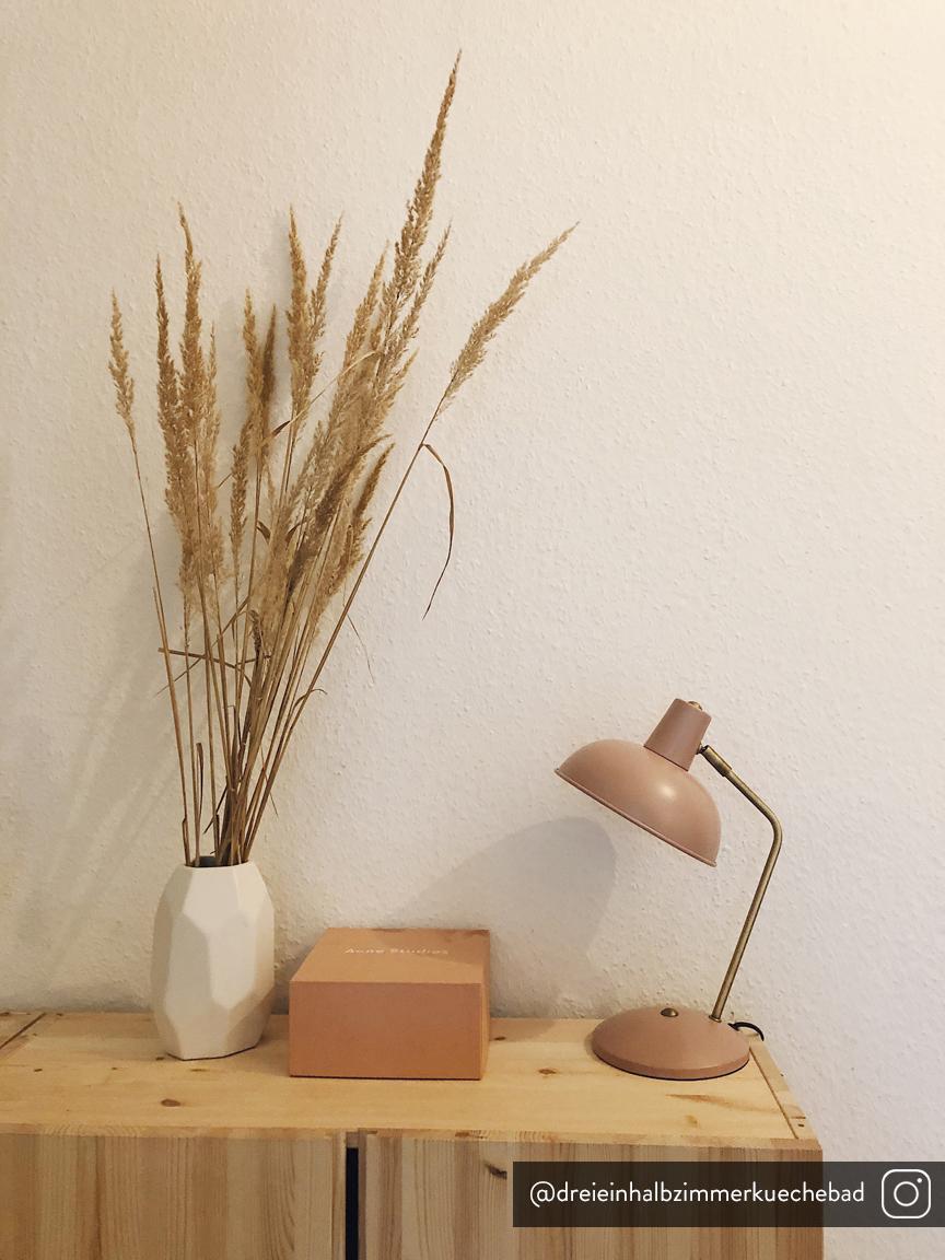 Retro-Schreibtischlampe Hood, Lampenschirm: Metall, lackiert, Lampenfuß: Metall, lackiert, Leuchte: Rosa, Messingfarben<br>Lampenschirm innen: Weiß, 20 x 38 cm