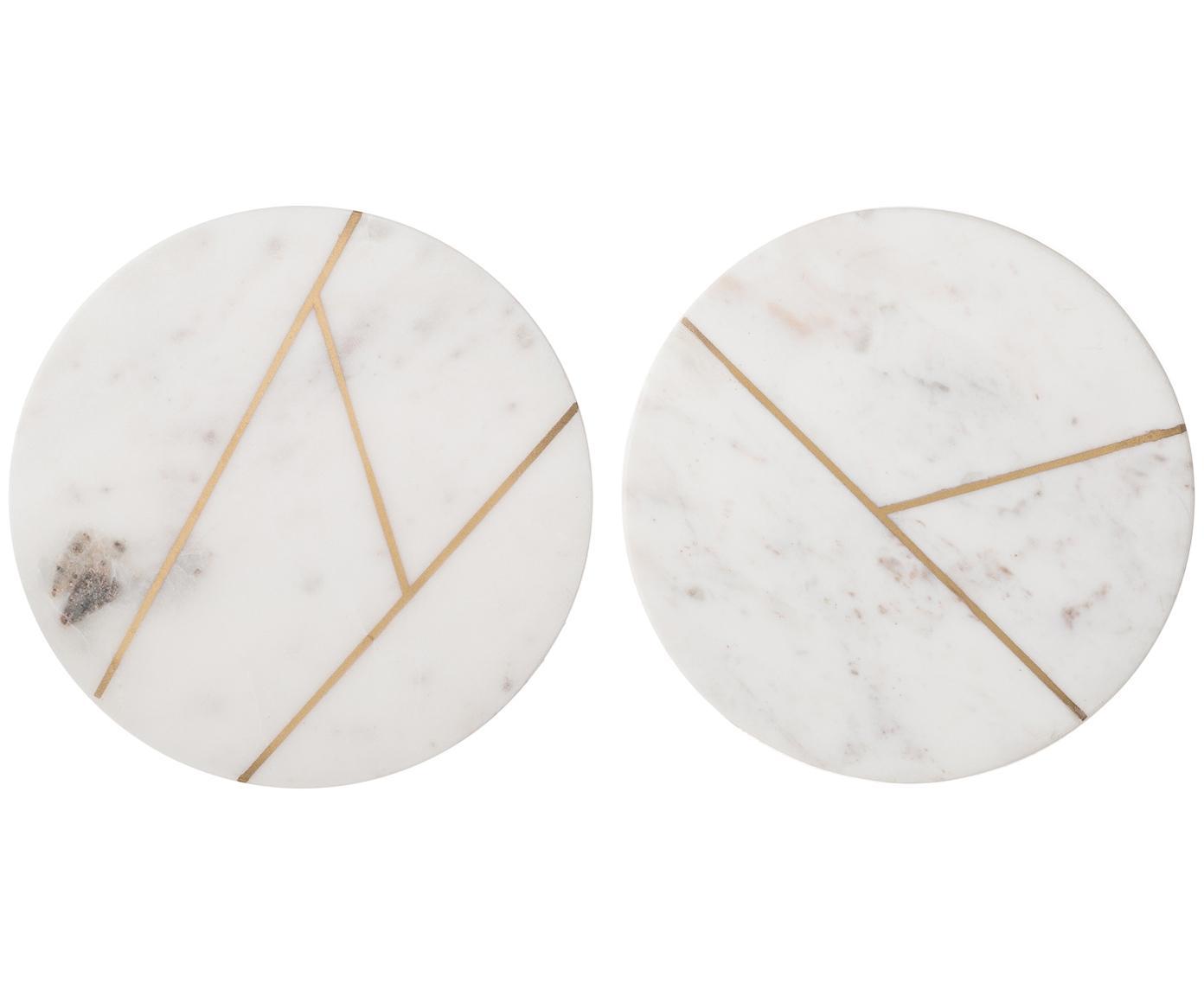Marmeren tegelset Marble, 2-delig, 100% marmer, Wit, gemarmerd, goudkleurig, Ø 18 cm