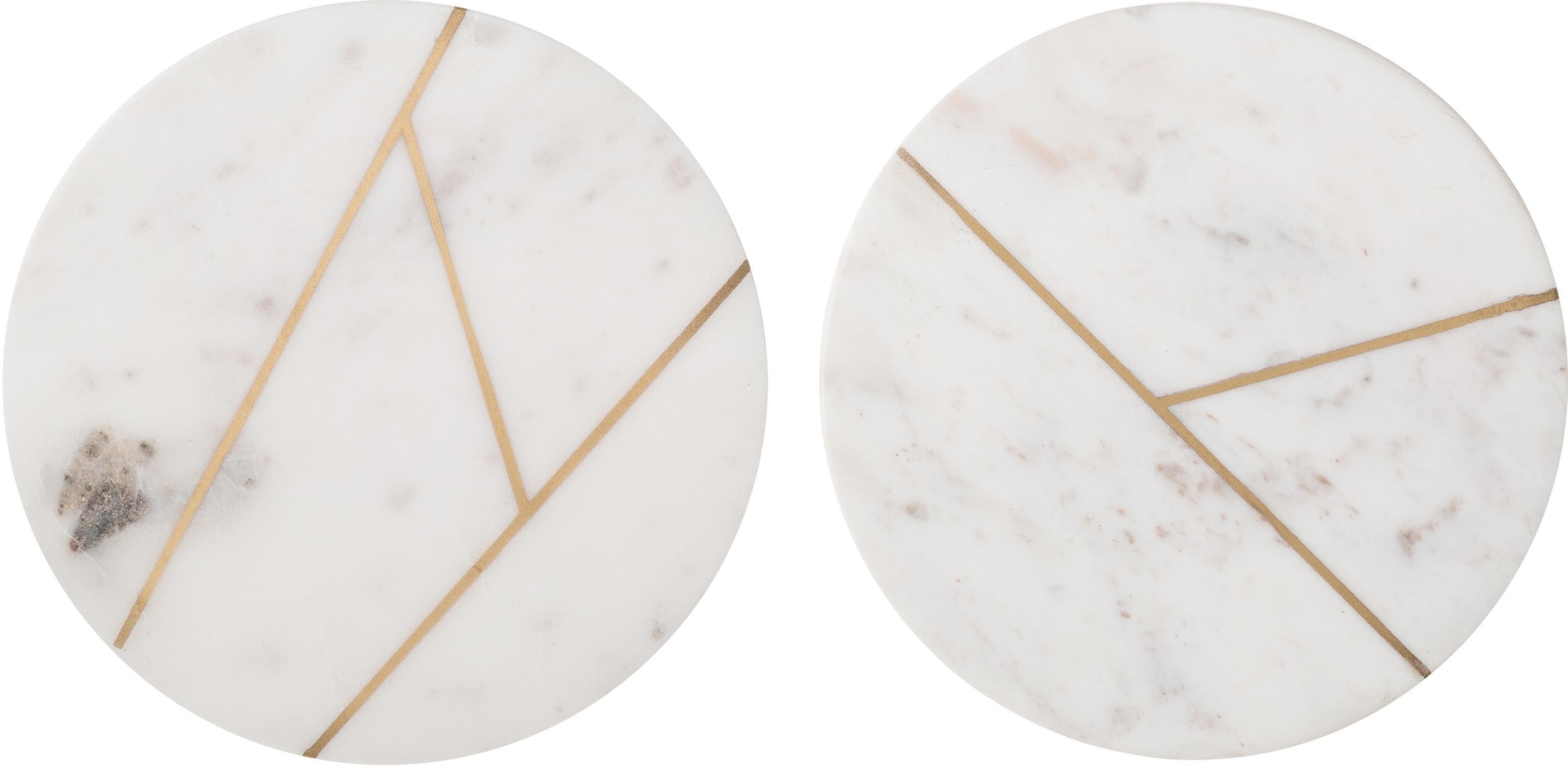 Set de placas de mármol Marble, 2pzas., 100%mármol, Blanco, dorado, Ø 18 cm