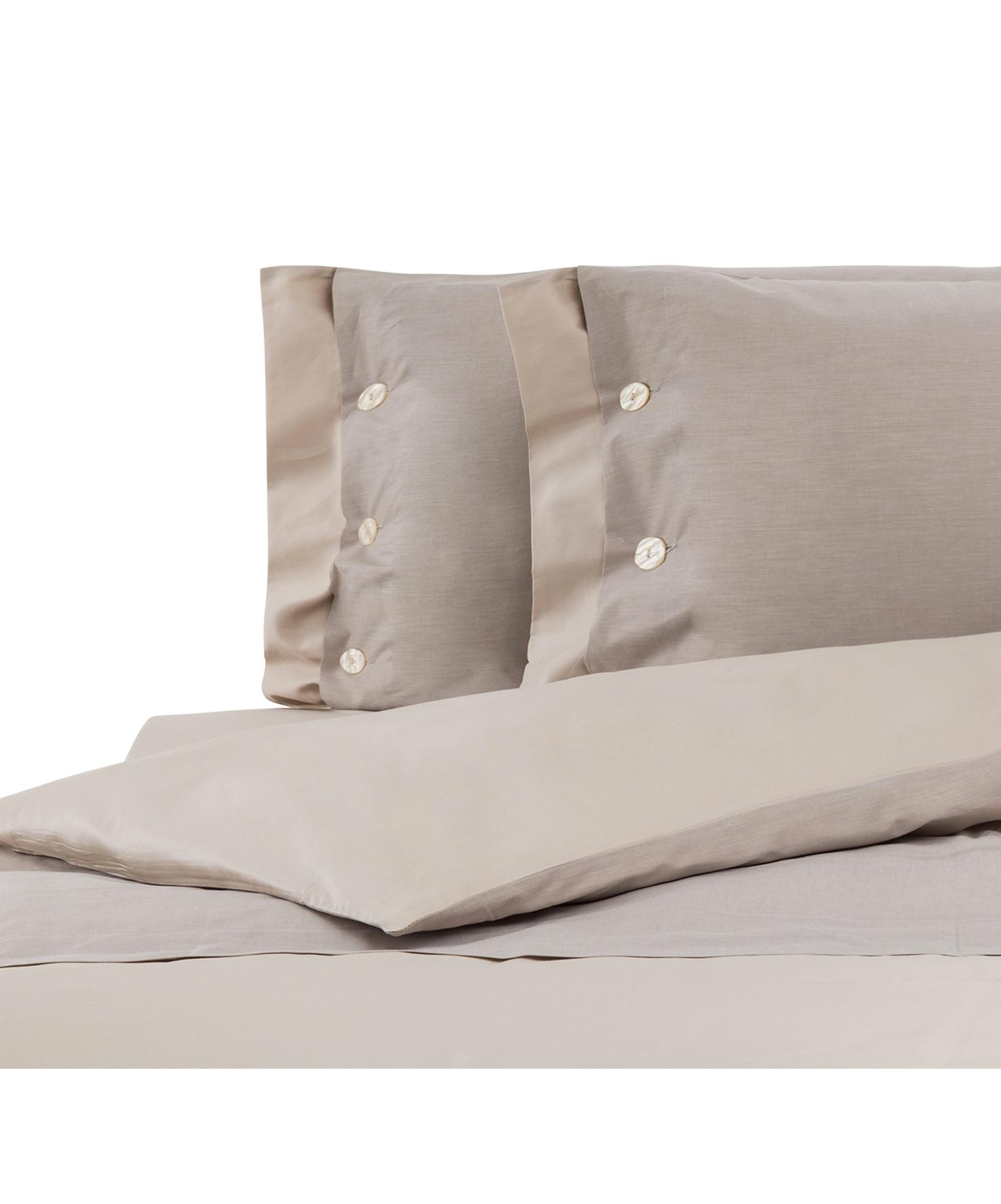 Completo copripiumino in raso di cotone Charme, Raso di cotone, Beige, 200 x 255 cm