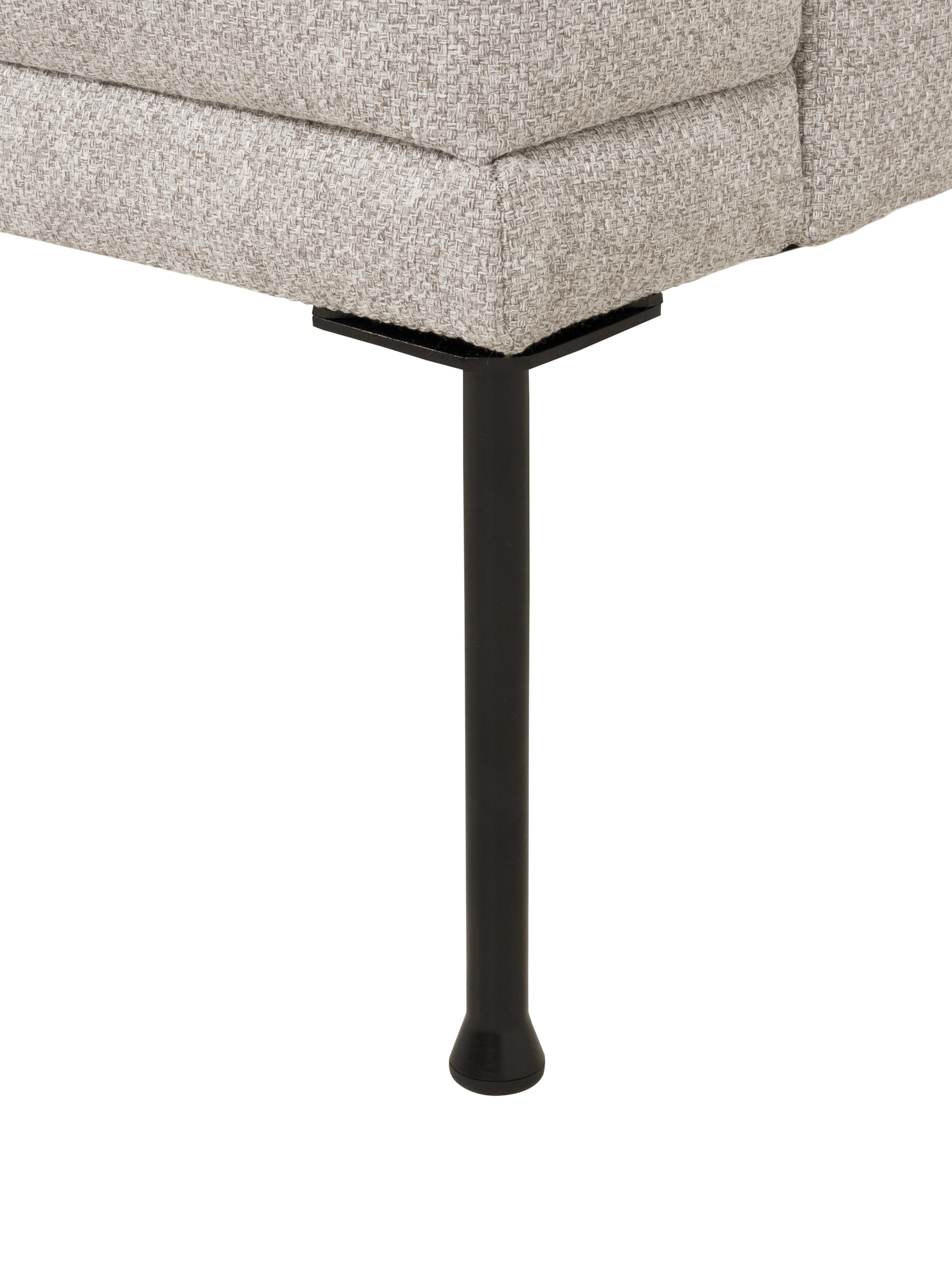 Hoekbank Fluente, Bekleding: 80% polyester, 20% ramie, Frame: massief grenenhout, Poten: gepoedercoat metaal, Geweven stof beige, B 221 x D 200 cm