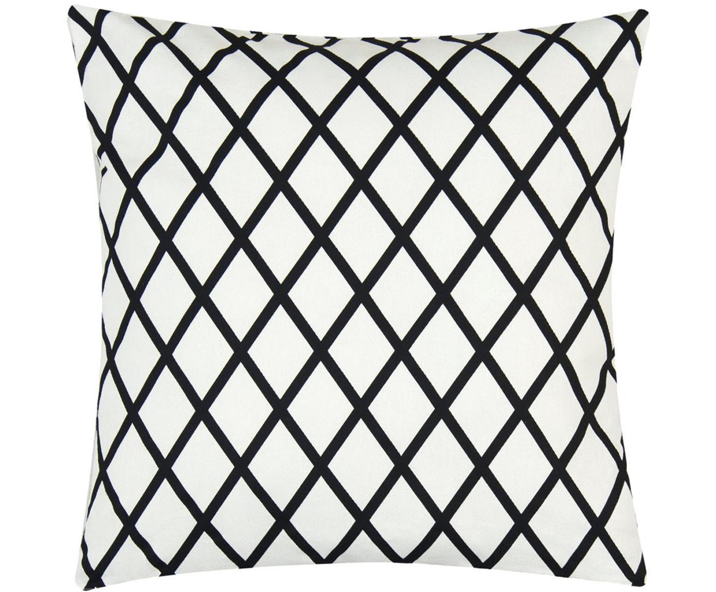 Poszewka na poduszkę Romy, 100% bawełna, splot Panama, Czarny, Kremowy, S 40 x D 40 cm